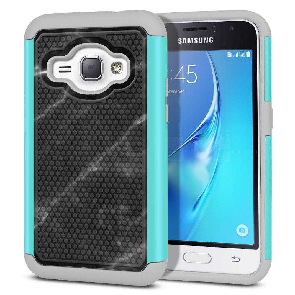 Samsung Galaxy J1 J120 2nd Gen 2016-Samsung Galaxy AMP 2 2nd Gen 2016-Samsung Galaxy Express 3-Samsung Galaxy Luna S120 Hybrid Football Skin Black Stone Marble Protector Cover Case