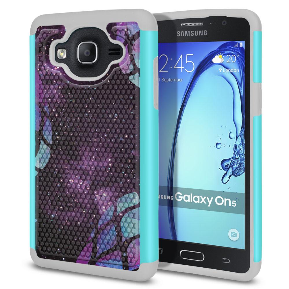Samsung Galaxy On5 G500-Samsung Galaxy On5 G550 Hybrid Football Skin Purple Pineapples Galaxy Protector Cover Case