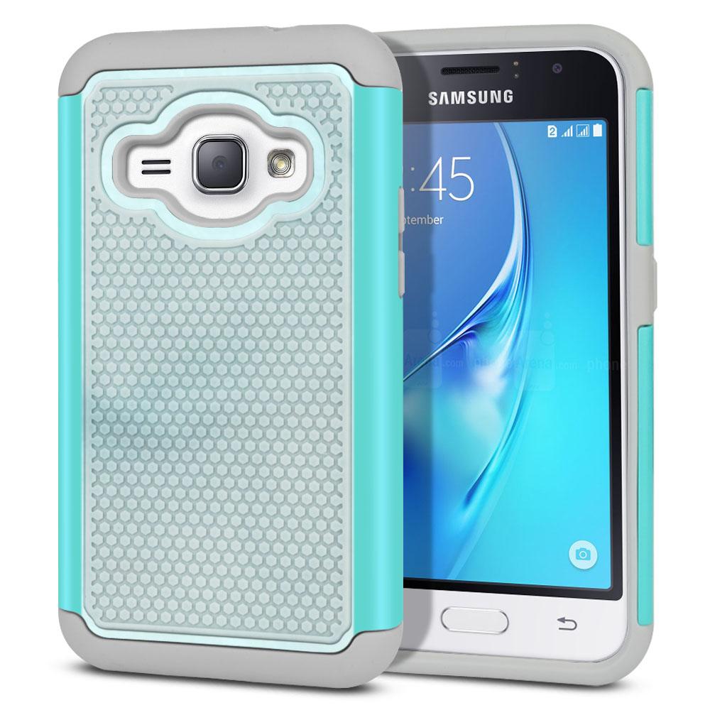 Samsung Galaxy J1 J120 2nd Gen 2016-Samsung Galaxy AMP 2 2nd Gen 2016-Samsung Galaxy Express 3-Samsung Galaxy Luna S120 Hybrid Football Skin Blue Cloudy Marble Protector Cover Case