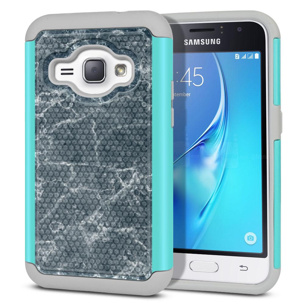Samsung Galaxy J1 J120 2nd Gen 2016-Samsung Galaxy AMP 2 2nd Gen 2016-Samsung Galaxy Express 3-Samsung Galaxy Luna S120 Hybrid Football Skin Blue Stone Marble Protector Cover Case