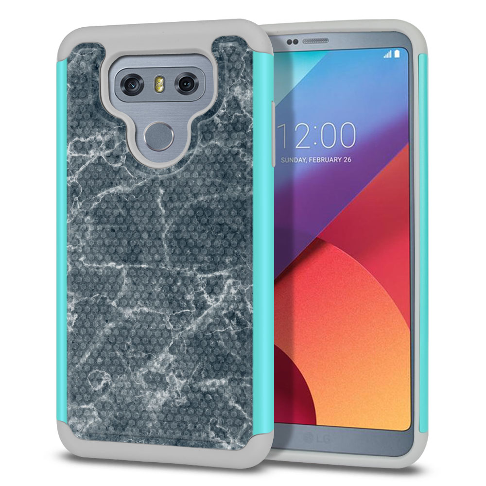 LG G6 H870-H871-H872-H873-US997-LS993-VS998-AS993-G6  Plus US997 Hybrid Football Skin Blue Stone Marble Protector Cover Case