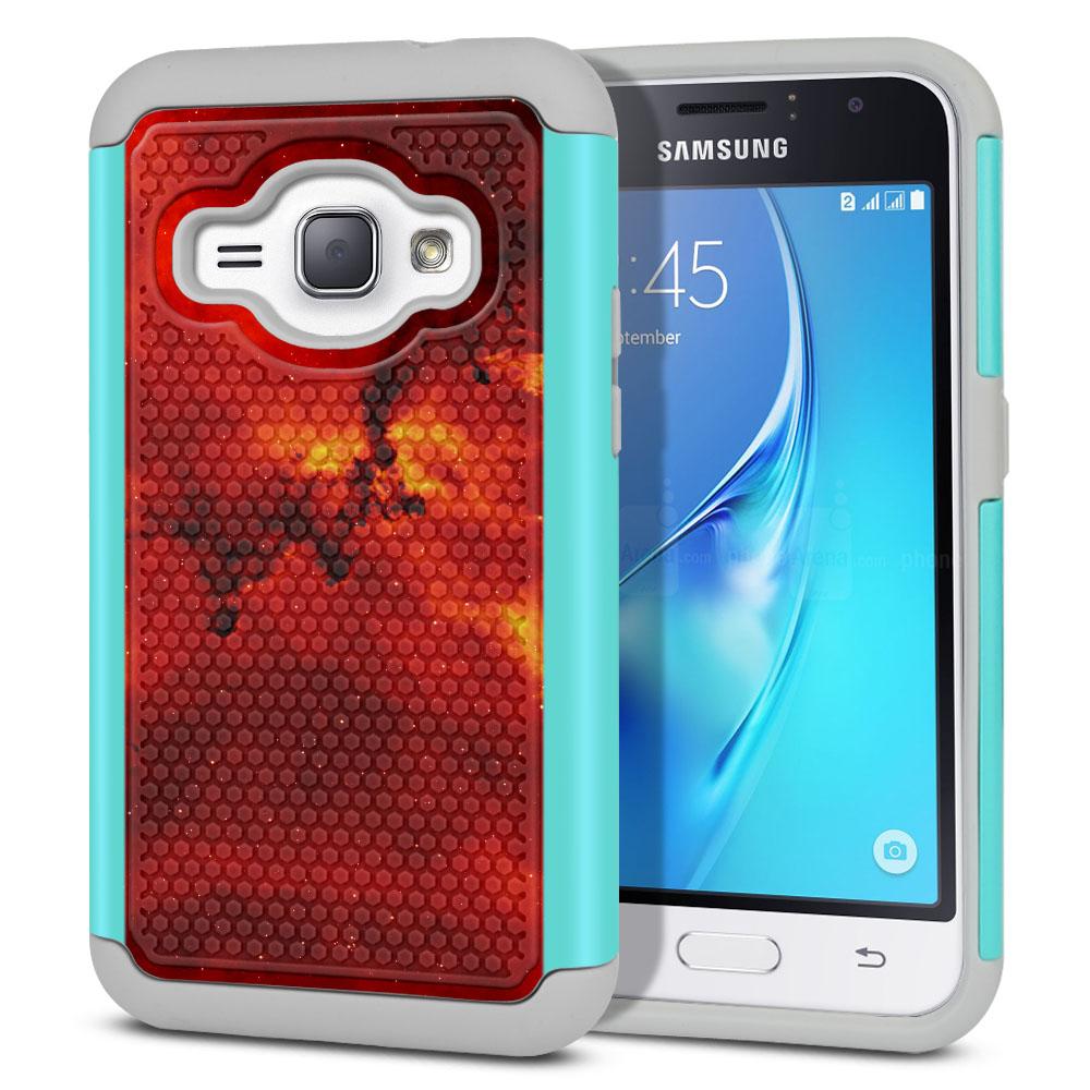Samsung Galaxy J1 J120 2nd Gen 2016-Samsung Galaxy AMP 2 2nd Gen 2016-Samsung Galaxy Express 3-Samsung Galaxy Luna S120 Hybrid Football Skin Fiery Galaxy Protector Cover Case