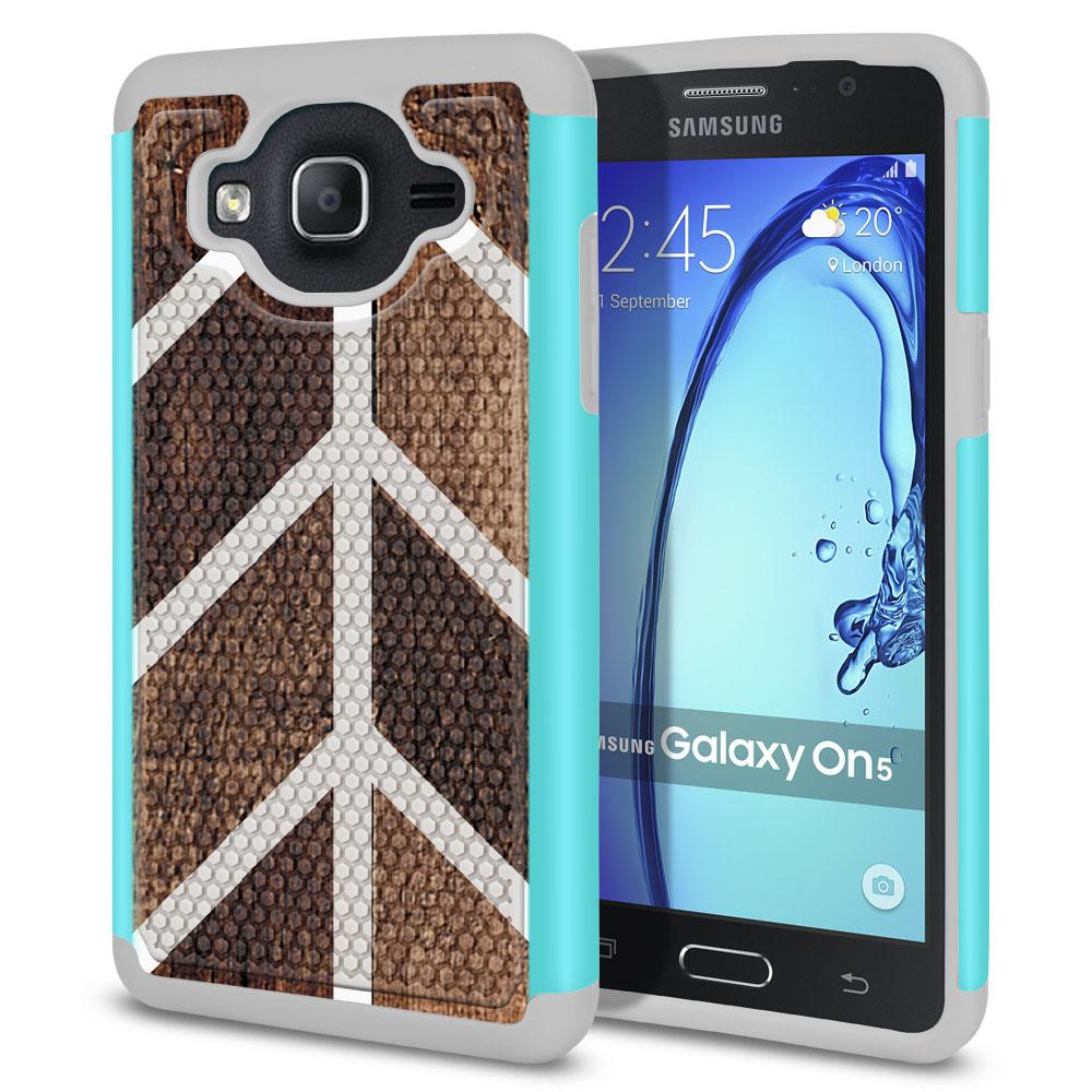 Samsung Galaxy On5 G500-Samsung Galaxy On5 G550 Hybrid Football Skin Wood Chevron Protector Cover Case