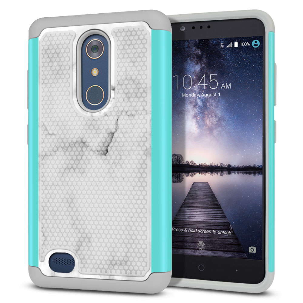 ZTE Zmax Pro Carry Z981 Hybrid Football Skin Grey Cloudy Marble Protector Cover Case