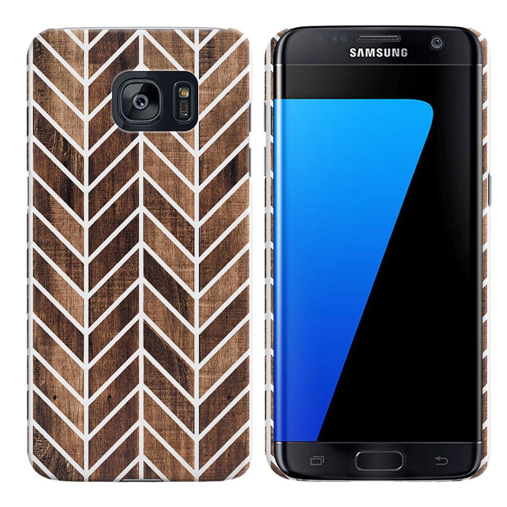 Samsung Galaxy S7 Edge G935 Modern Chevron Wood Back Cover Case