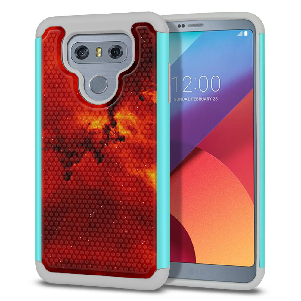 LG G6 H870-H871-H872-H873-US997-LS993-VS998-AS993-G6  Plus US997 Hybrid Football Skin Fiery Galaxy Protector Cover Case