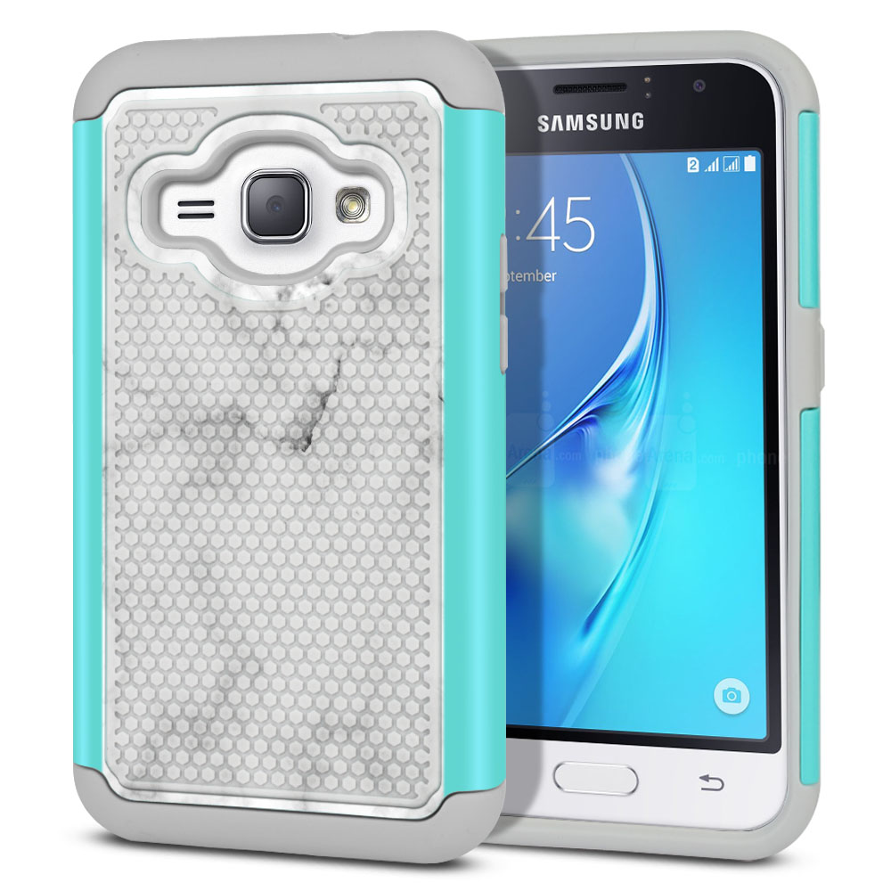 Samsung Galaxy J1 J120 2nd Gen 2016-Samsung Galaxy AMP 2 2nd Gen 2016-Samsung Galaxy Express 3-Samsung Galaxy Luna S120 Hybrid Football Skin Grey Cloudy Marble Protector Cover Case