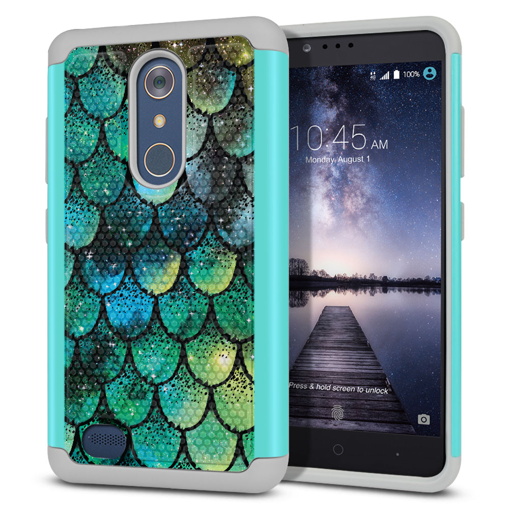 ZTE Zmax Pro Carry Z981 Hybrid Football Skin Green Mermaid Scales Protector Cover Case
