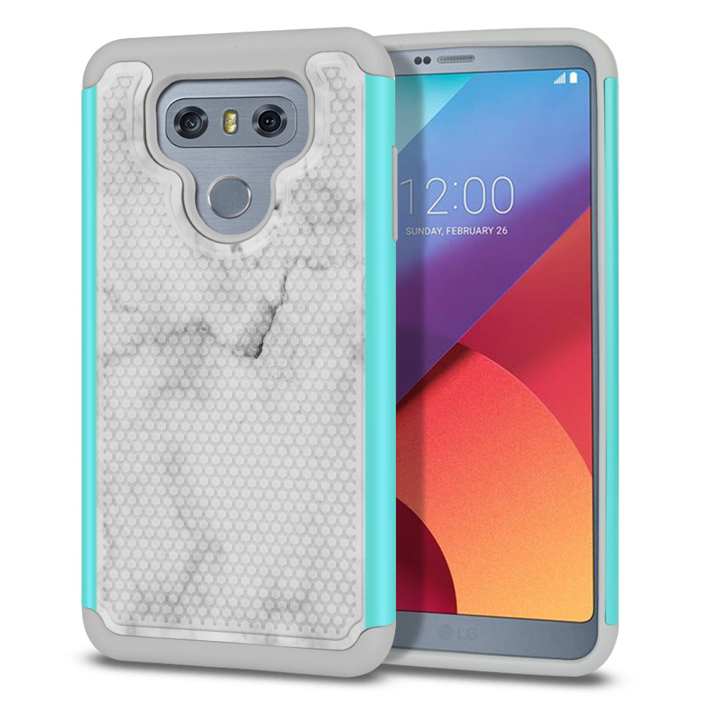 LG G6 H870-H871-H872-H873-US997-LS993-VS998-AS993-G6  Plus US997 Hybrid Football Skin Grey Cloudy Marble Protector Cover Case