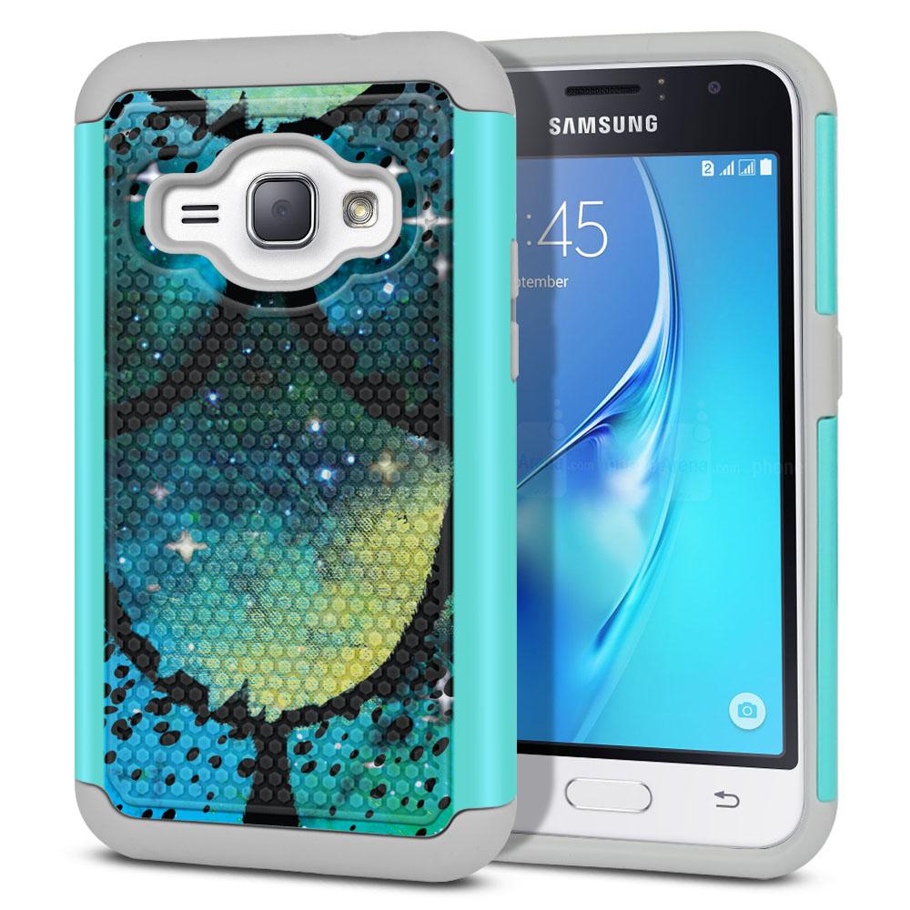 Samsung Galaxy J1 J120 2nd Gen 2016-Samsung Galaxy AMP 2 2nd Gen 2016-Samsung Galaxy Express 3-Samsung Galaxy Luna S120 Hybrid Football Skin Green Mermaid Scales Protector Cover Case