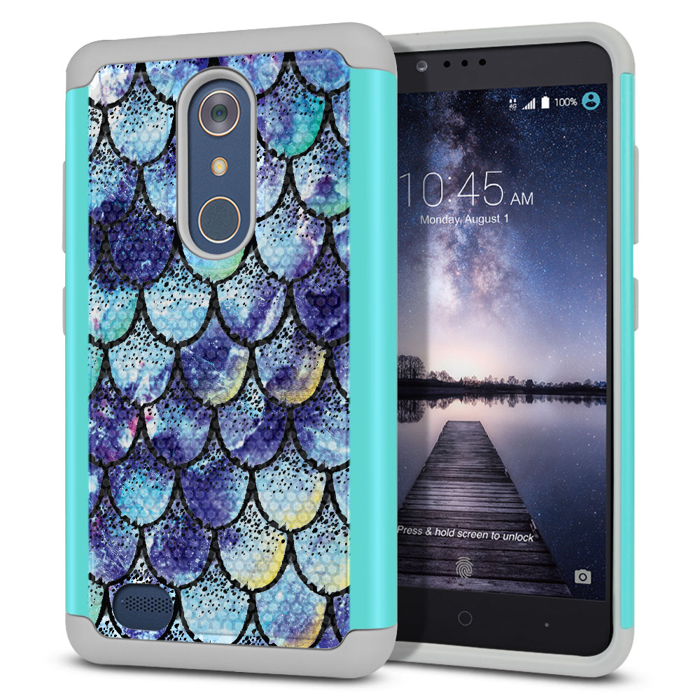 ZTE Zmax Pro Carry Z981 Hybrid Football Skin Purple Mermaid Scales Protector Cover Case