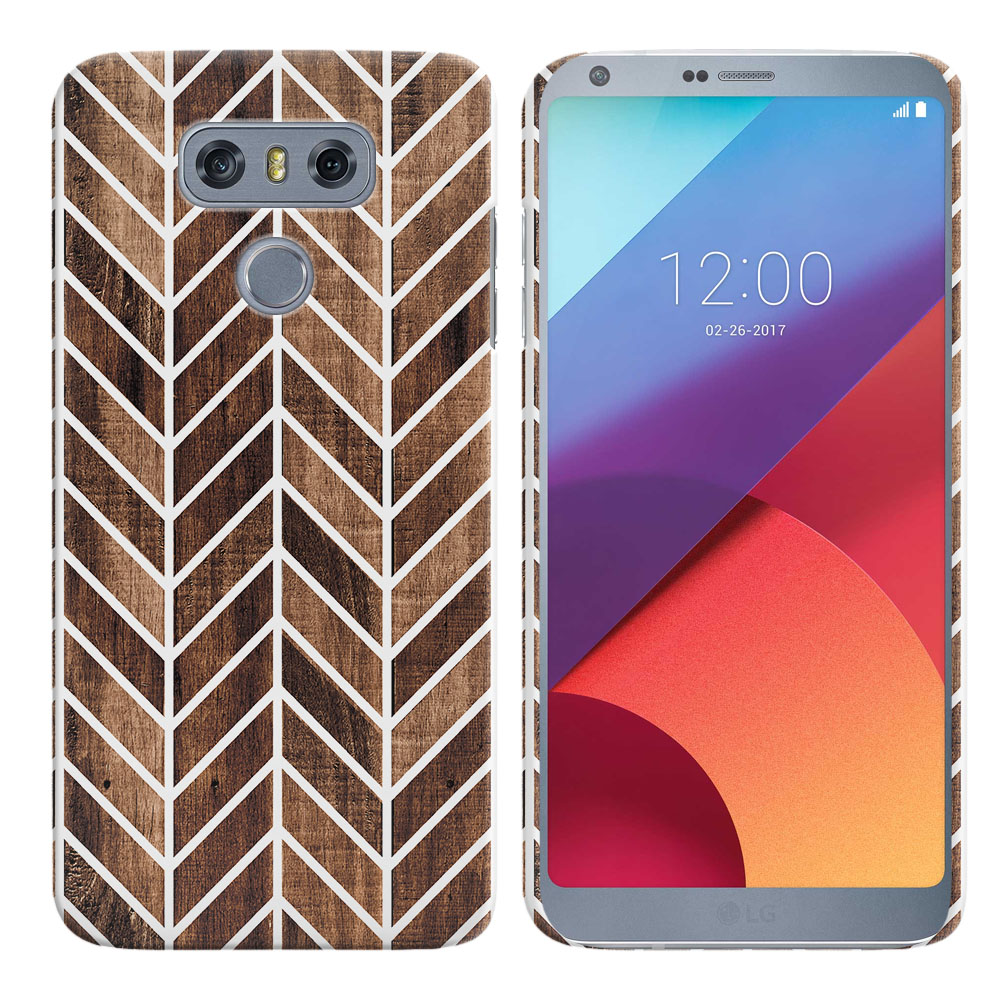 LG G6 H870-H871-H872-H873-US997-LS993-VS998-AS993-G6  Plus US997 Modern Chevron Wood Back Cover Case