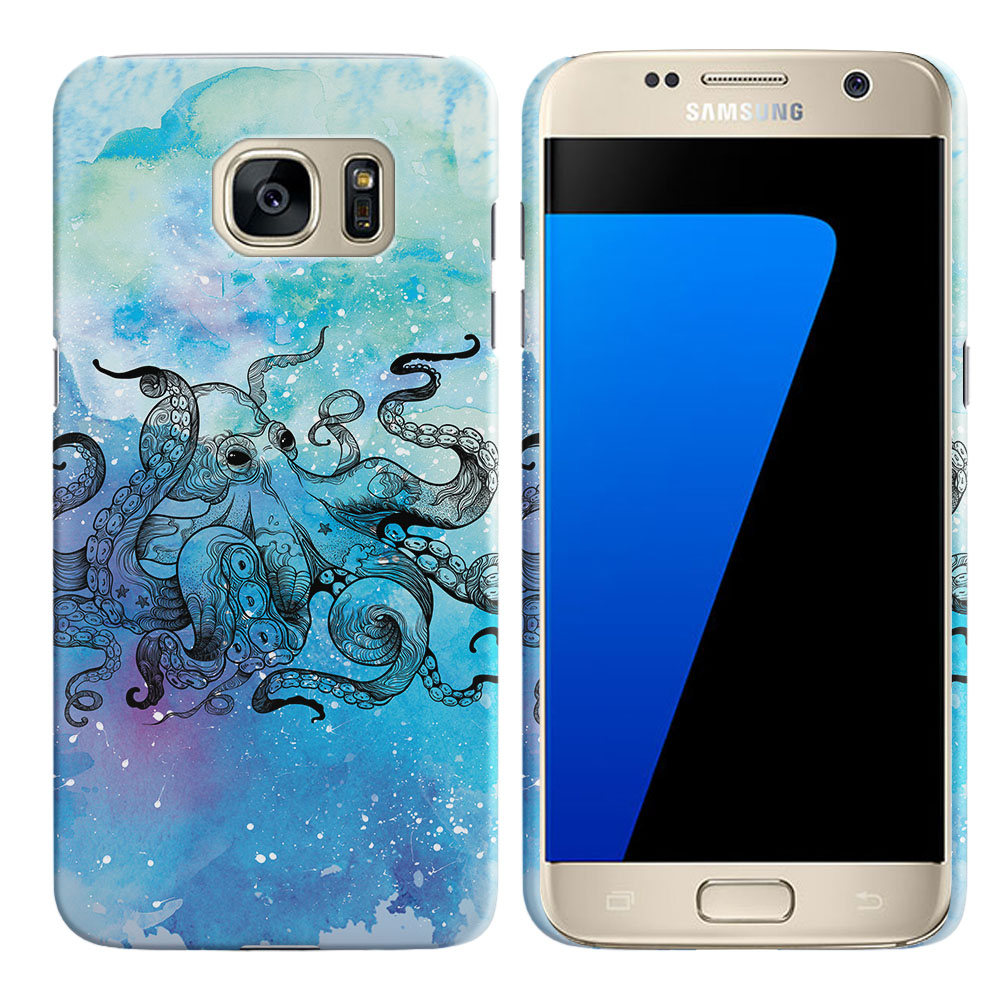 Samsung Galaxy S7 G930 Blue Water Octopus Blue BG Back Cover Case