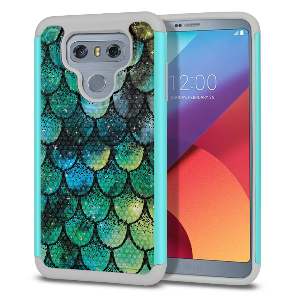 LG G6 H870-H871-H872-H873-US997-LS993-VS998-AS993-G6  Plus US997 Hybrid Football Skin Green Mermaid Scales Protector Cover Case