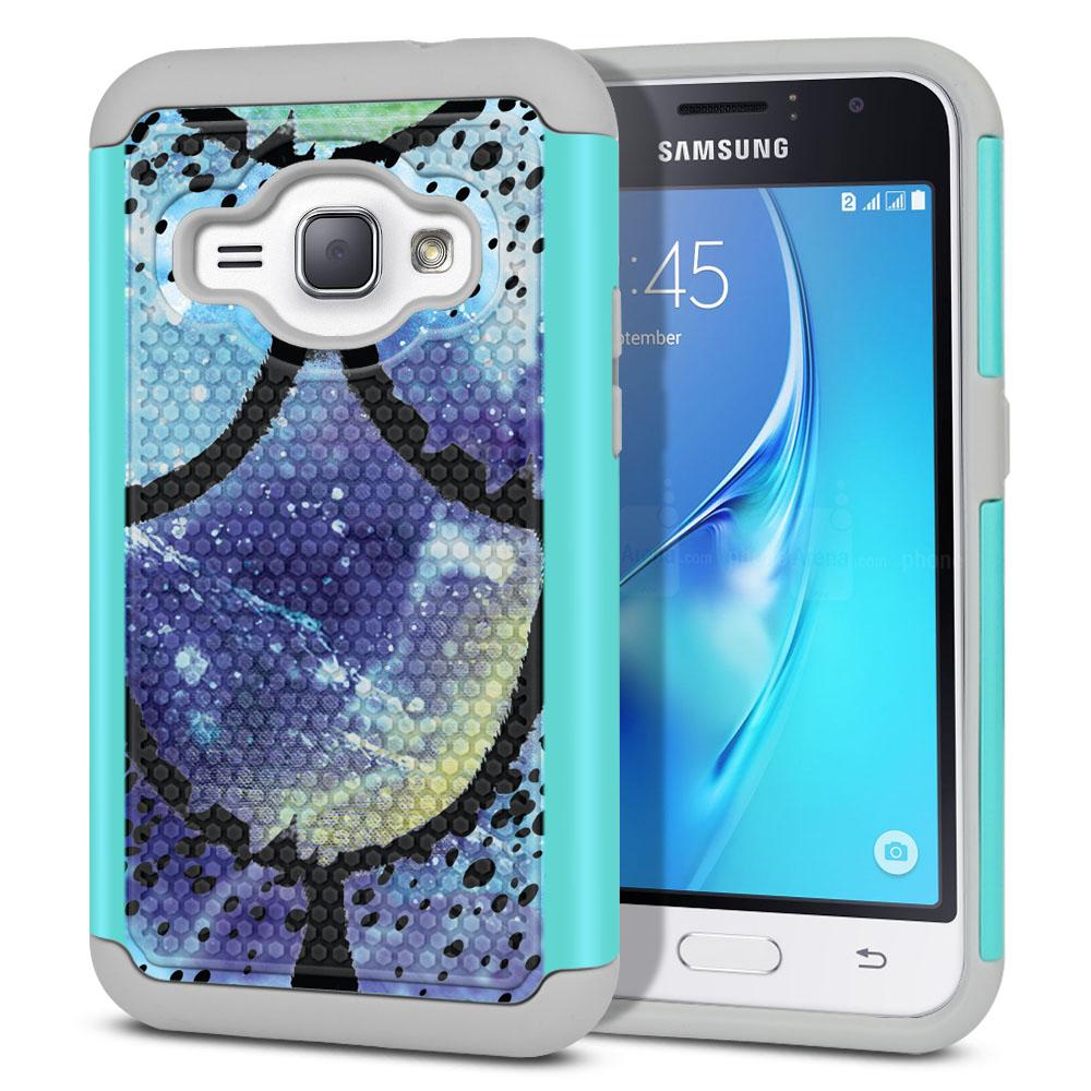 Samsung Galaxy J1 J120 2nd Gen 2016-Samsung Galaxy AMP 2 2nd Gen 2016-Samsung Galaxy Express 3-Samsung Galaxy Luna S120 Hybrid Football Skin Purple Mermaid Scales Protector Cover Case