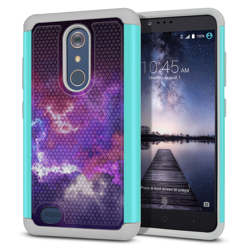 ZTE Zmax Pro Carry Z981 Hybrid Football Skin Purple Nebula Space Protector Cover Case