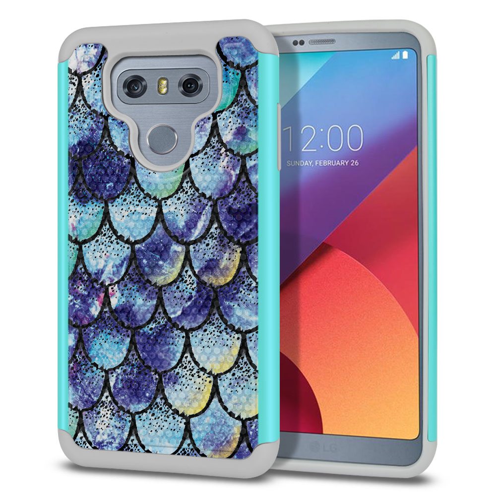 LG G6 H870-H871-H872-H873-US997-LS993-VS998-AS993-G6  Plus US997 Hybrid Football Skin Purple Mermaid Scales Protector Cover Case
