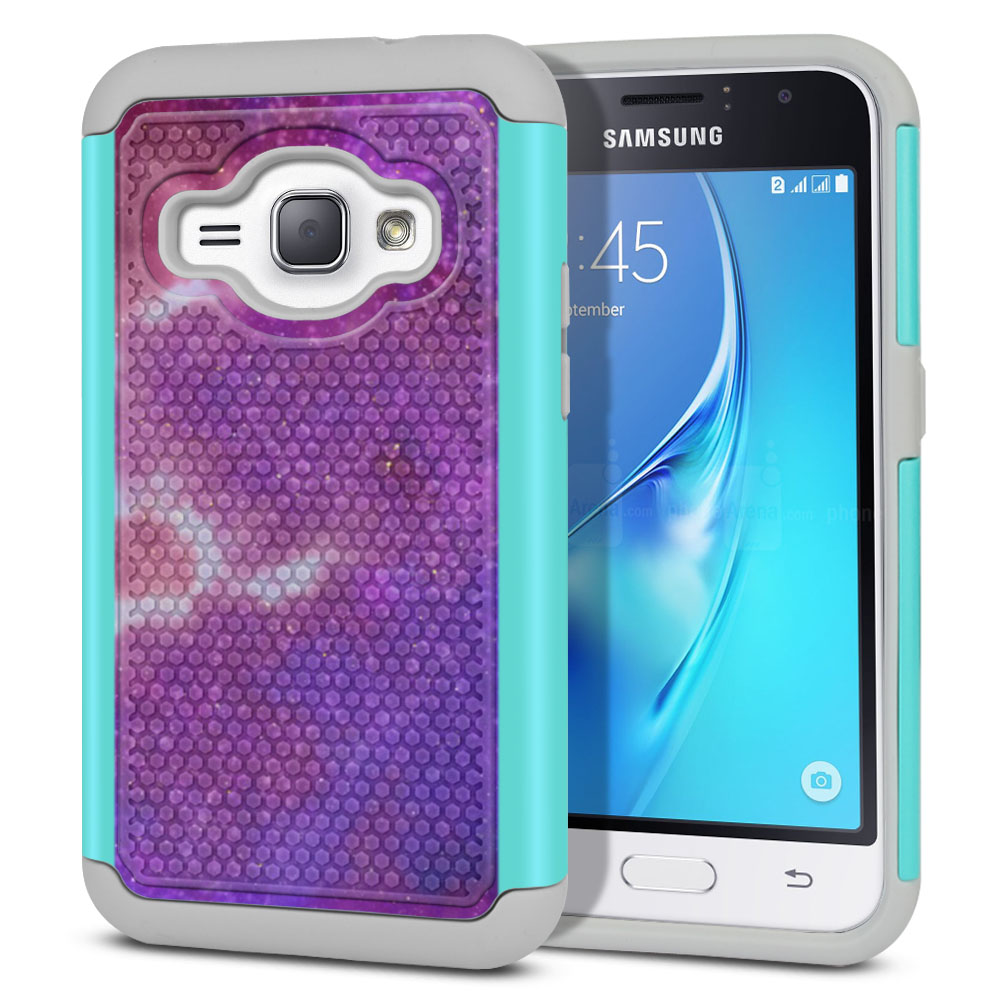 Samsung Galaxy J1 J120 2nd Gen 2016-Samsung Galaxy AMP 2 2nd Gen 2016-Samsung Galaxy Express 3-Samsung Galaxy Luna S120 Hybrid Football Skin Purple Nebula Space Protector Cover Case