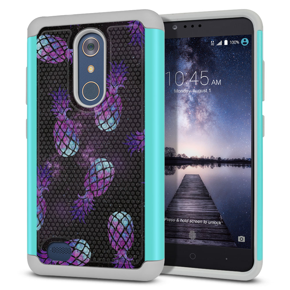 ZTE Zmax Pro Carry Z981 Hybrid Football Skin Purple Pineapples Galaxy Protector Cover Case