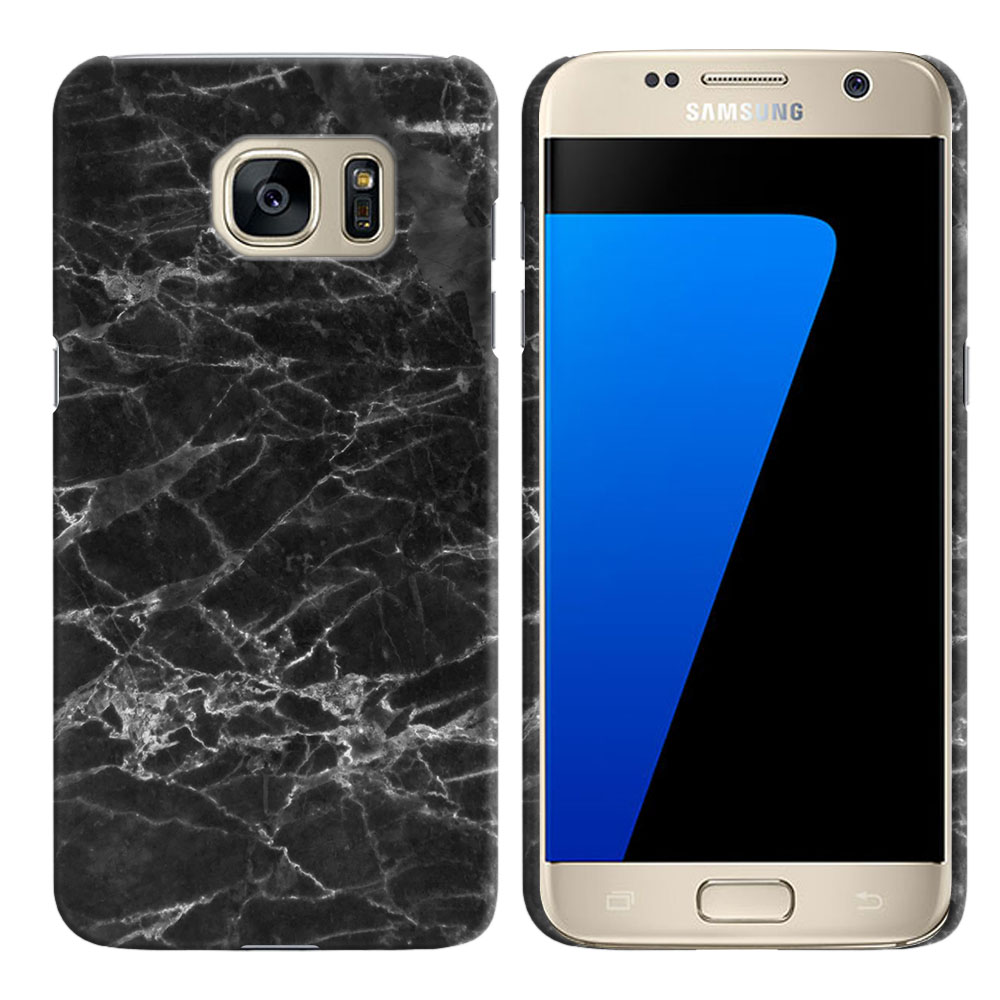 Samsung Galaxy S7 G930 Black Stone Marble Back Cover Case