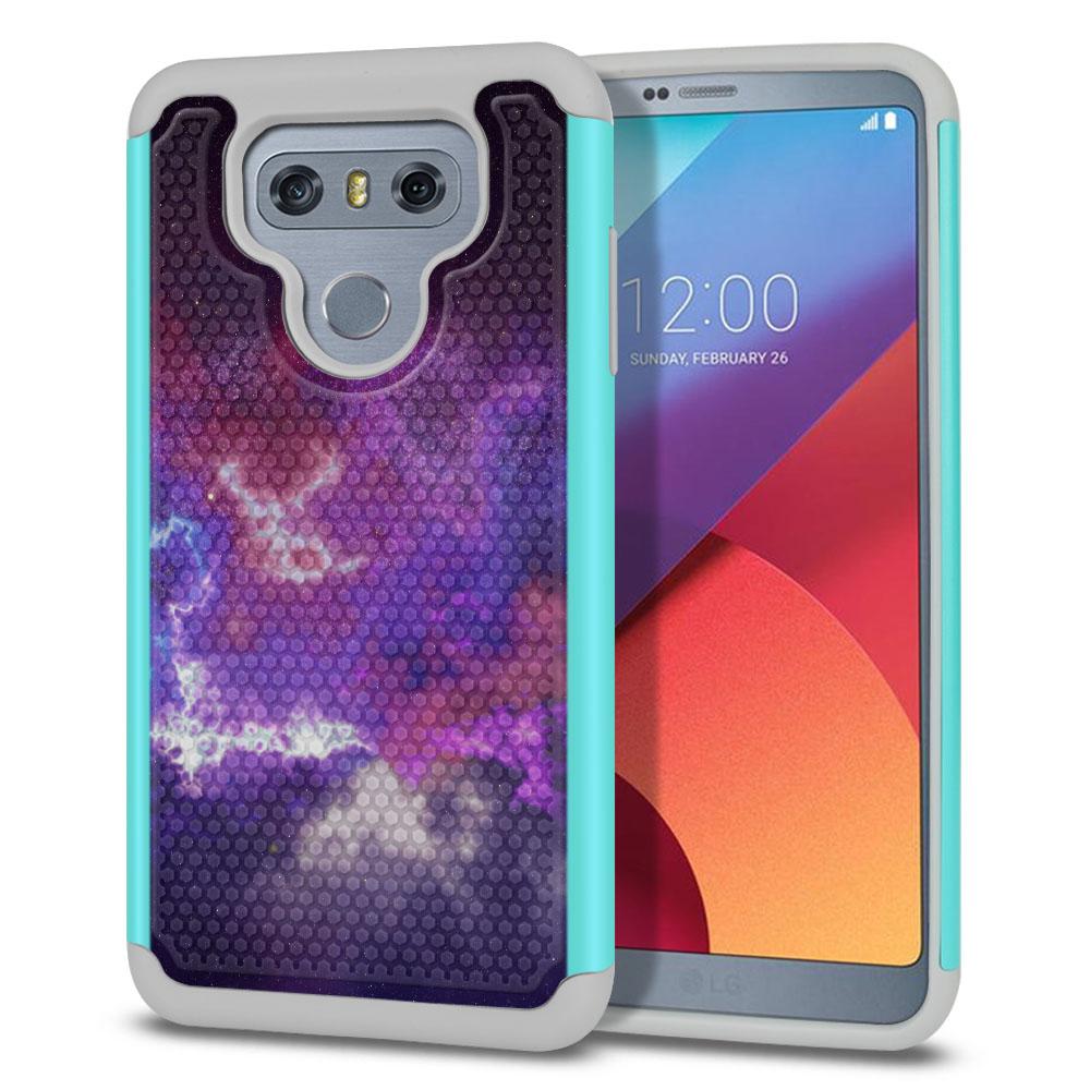LG G6 H870-H871-H872-H873-US997-LS993-VS998-AS993-G6  Plus US997 Hybrid Football Skin Purple Nebula Space Protector Cover Case