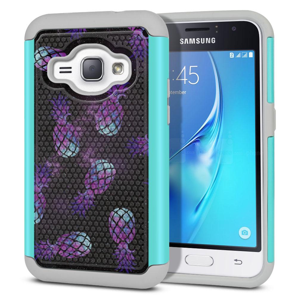 Samsung Galaxy J1 J120 2nd Gen 2016-Samsung Galaxy AMP 2 2nd Gen 2016-Samsung Galaxy Express 3-Samsung Galaxy Luna S120 Hybrid Football Skin Purple Pineapples Galaxy Protector Cover Case