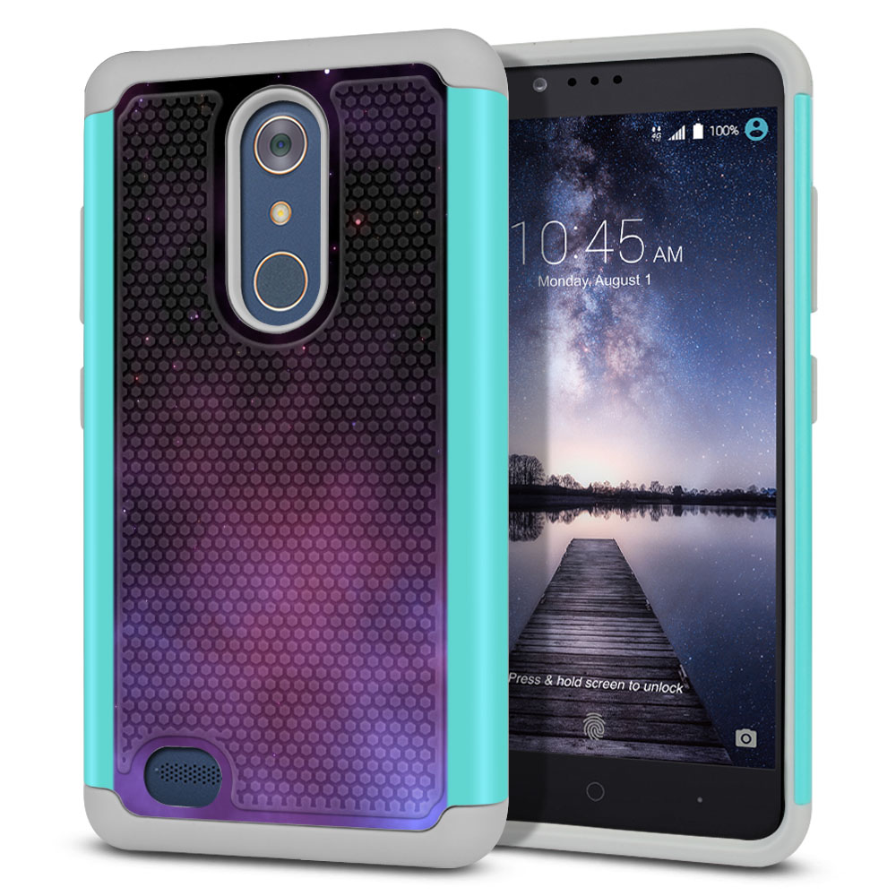 ZTE Zmax Pro Carry Z981 Hybrid Football Skin Purple Space Stars Protector Cover Case