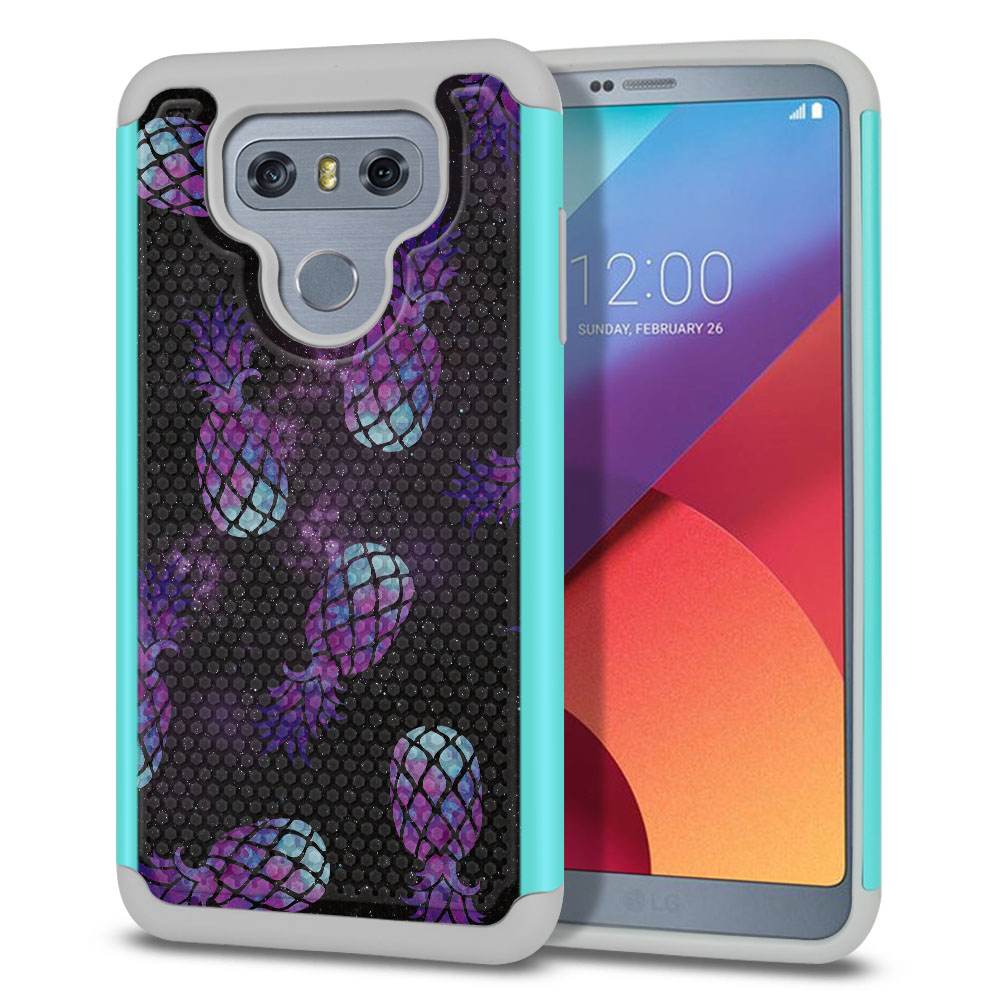 LG G6 H870-H871-H872-H873-US997-LS993-VS998-AS993-G6  Plus US997 Hybrid Football Skin Purple Pineapples Galaxy Protector Cover Case