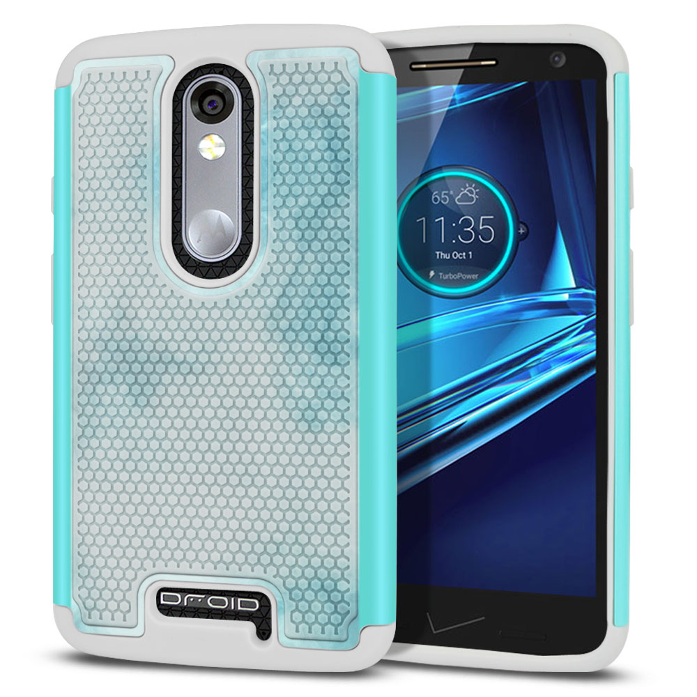 Motorola Droid Turbo 2 Kinzie XT1585-Motorola Moto X Force XT1580 Texture Hybrid Blue Cloudy Marble Protector Cover Case