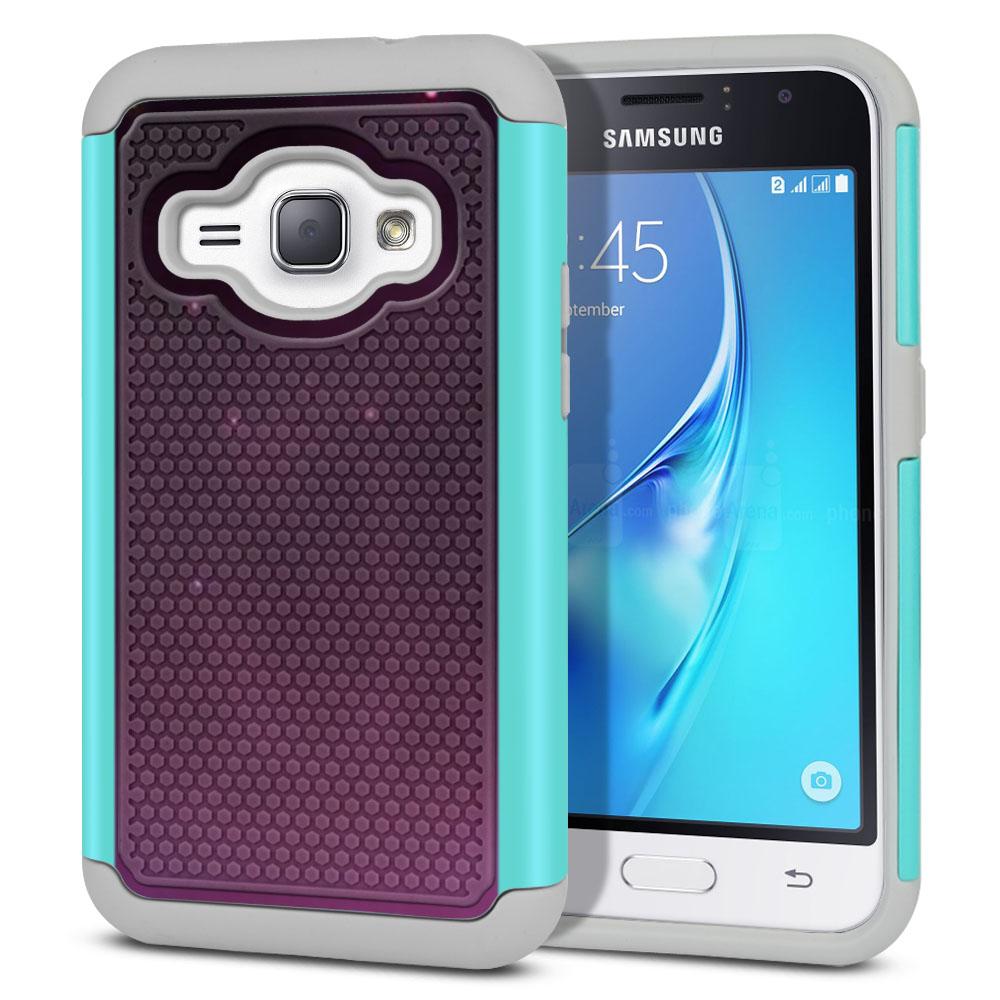 Samsung Galaxy J1 J120 2nd Gen 2016-Samsung Galaxy AMP 2 2nd Gen 2016-Samsung Galaxy Express 3-Samsung Galaxy Luna S120 Hybrid Football Skin Purple Space Stars Protector Cover Case