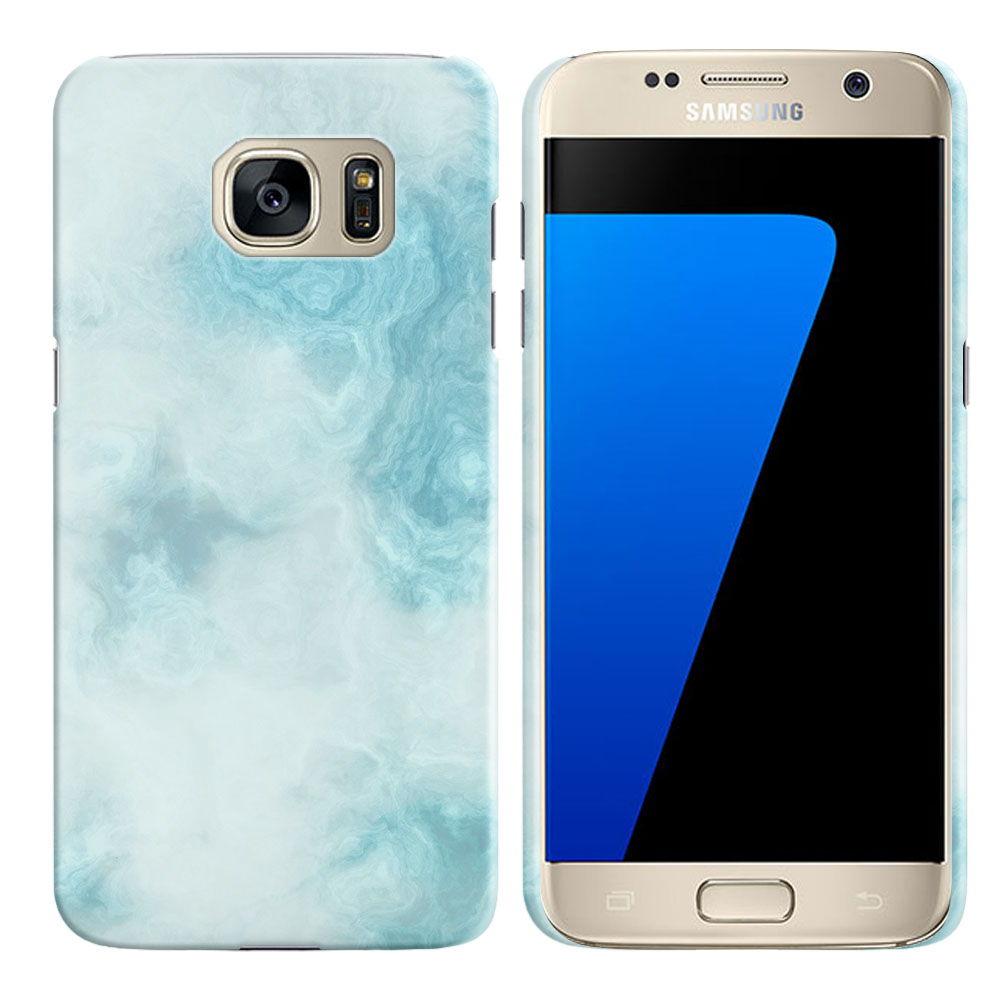 Samsung Galaxy S7 G930 Blue Cloudy Marble Back Cover Case