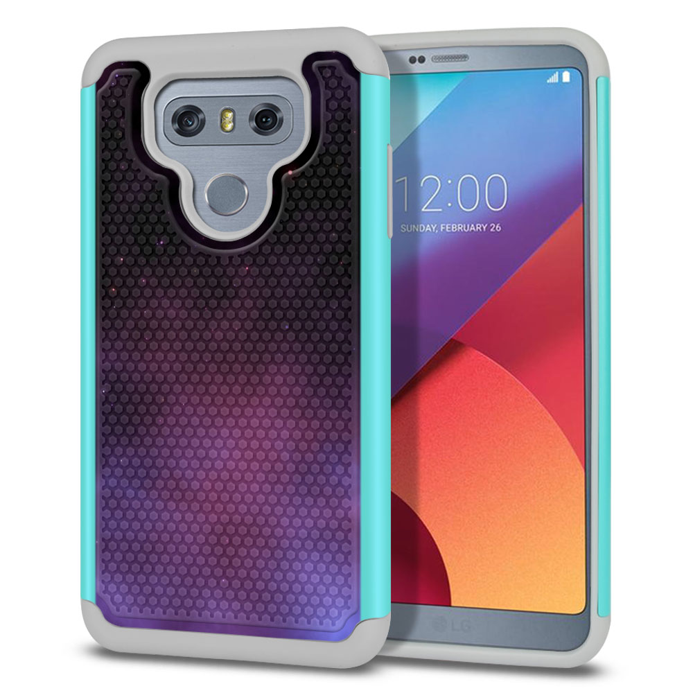 LG G6 H870-H871-H872-H873-US997-LS993-VS998-AS993-G6  Plus US997 Hybrid Football Skin Purple Space Stars Protector Cover Case