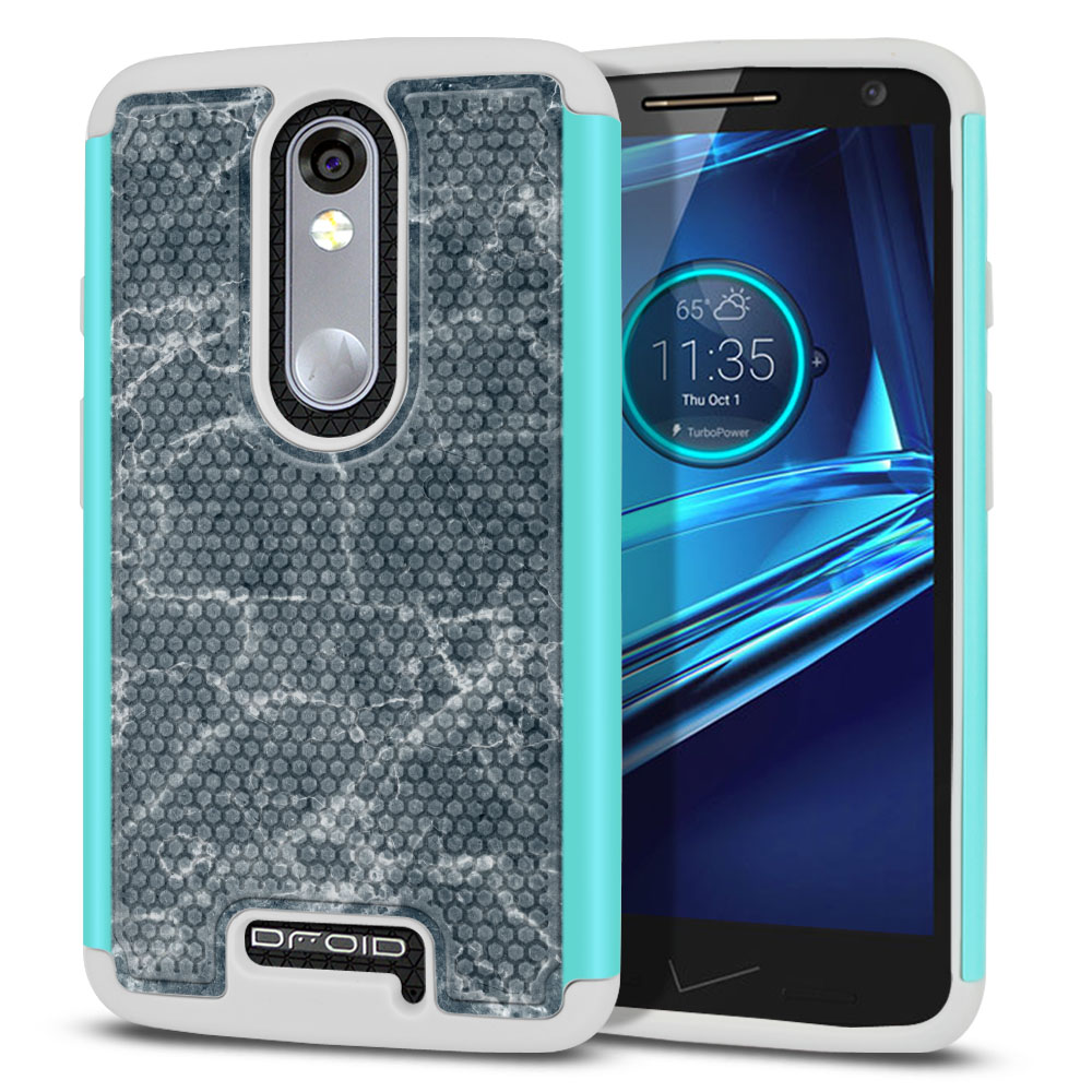 Motorola Droid Turbo 2 Kinzie XT1585-Motorola Moto X Force XT1580 Hybrid Football Skin Blue Stone Marble Protector Cover Case