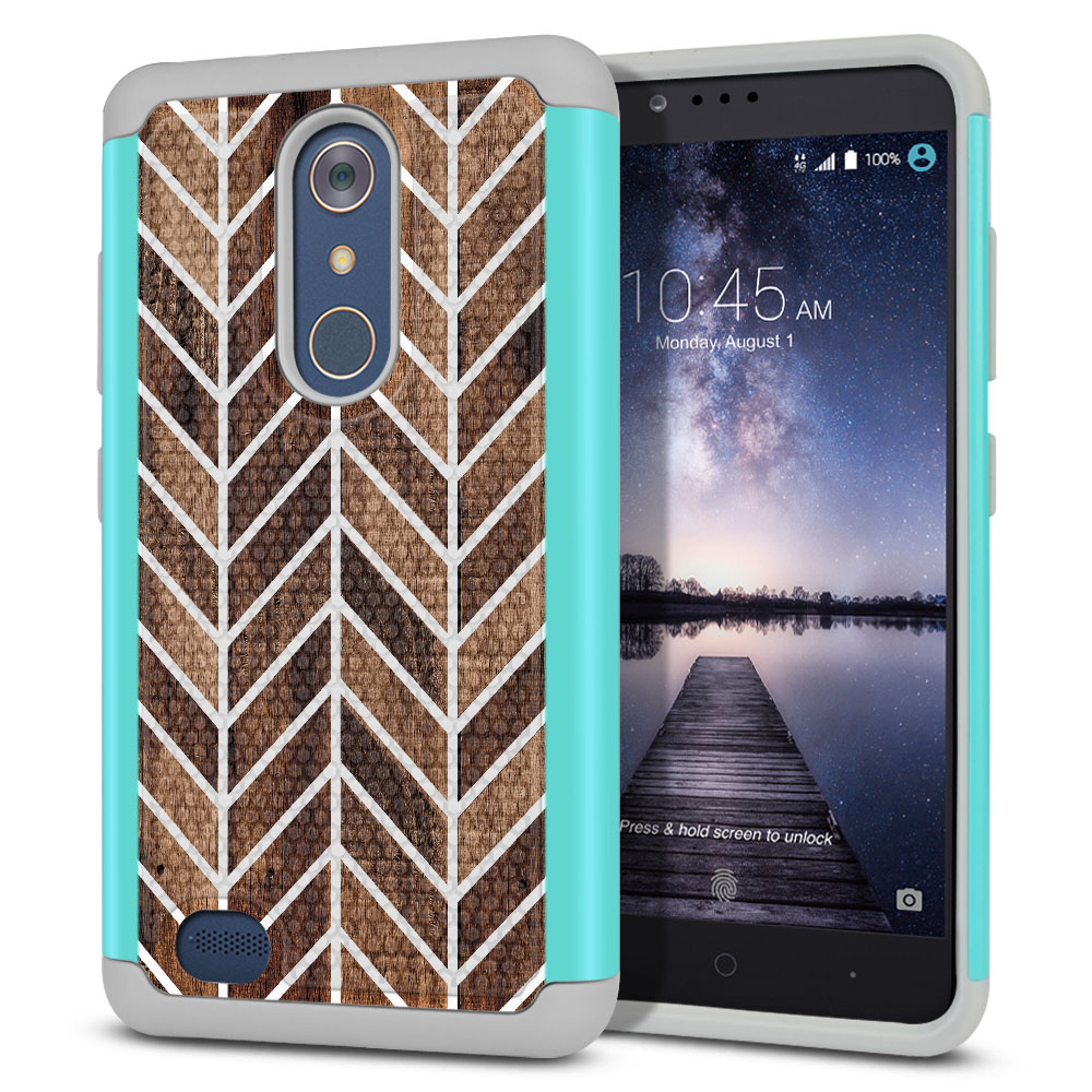 ZTE Zmax Pro Carry Z981 Hybrid Football Skin Modern Chevron Wood Protector Cover Case