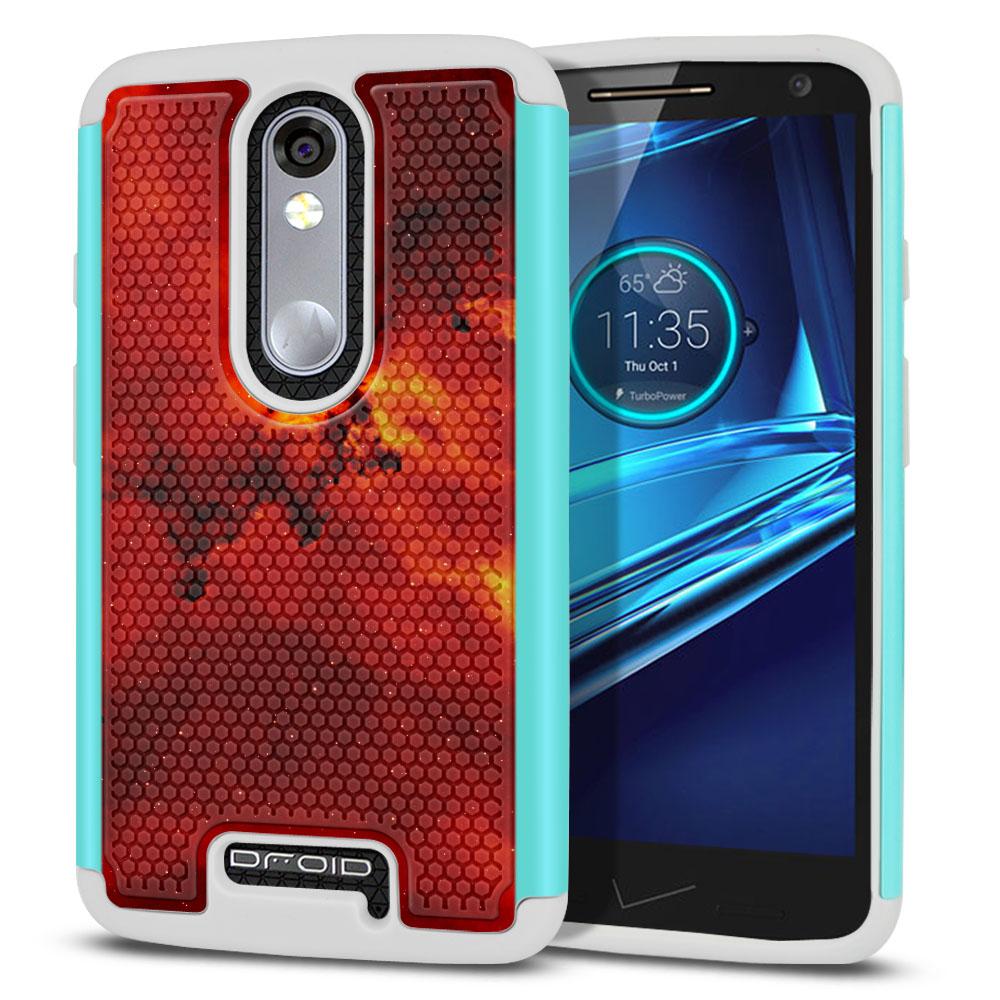 Motorola Droid Turbo 2 Kinzie XT1585-Motorola Moto X Force XT1580 Texture Hybrid Fiery Galaxy Protector Cover Case