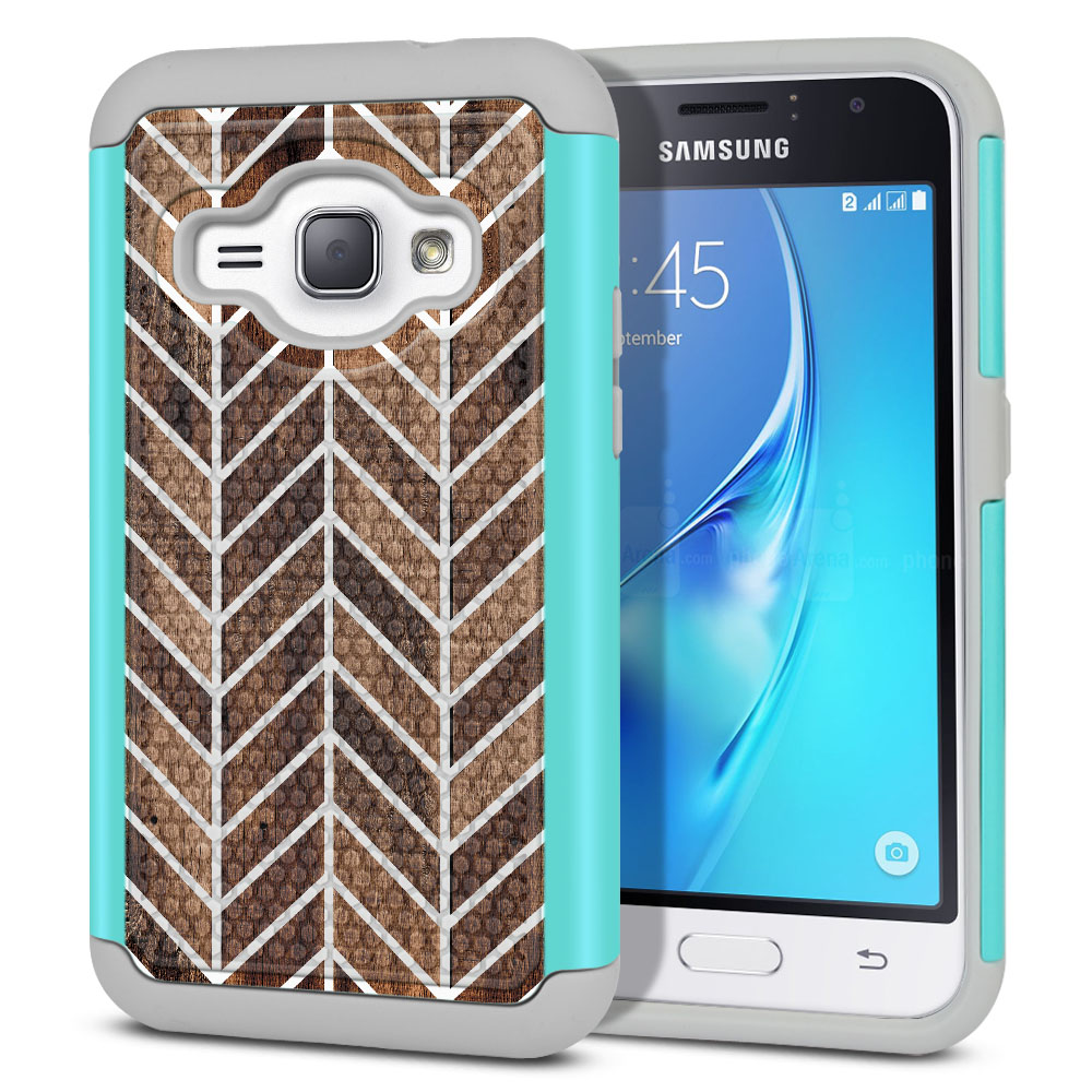Samsung Galaxy J1 J120 2nd Gen 2016-Samsung Galaxy AMP 2 2nd Gen 2016-Samsung Galaxy Express 3-Samsung Galaxy Luna S120 Hybrid Football Skin Wood Chevron Protector Cover Case