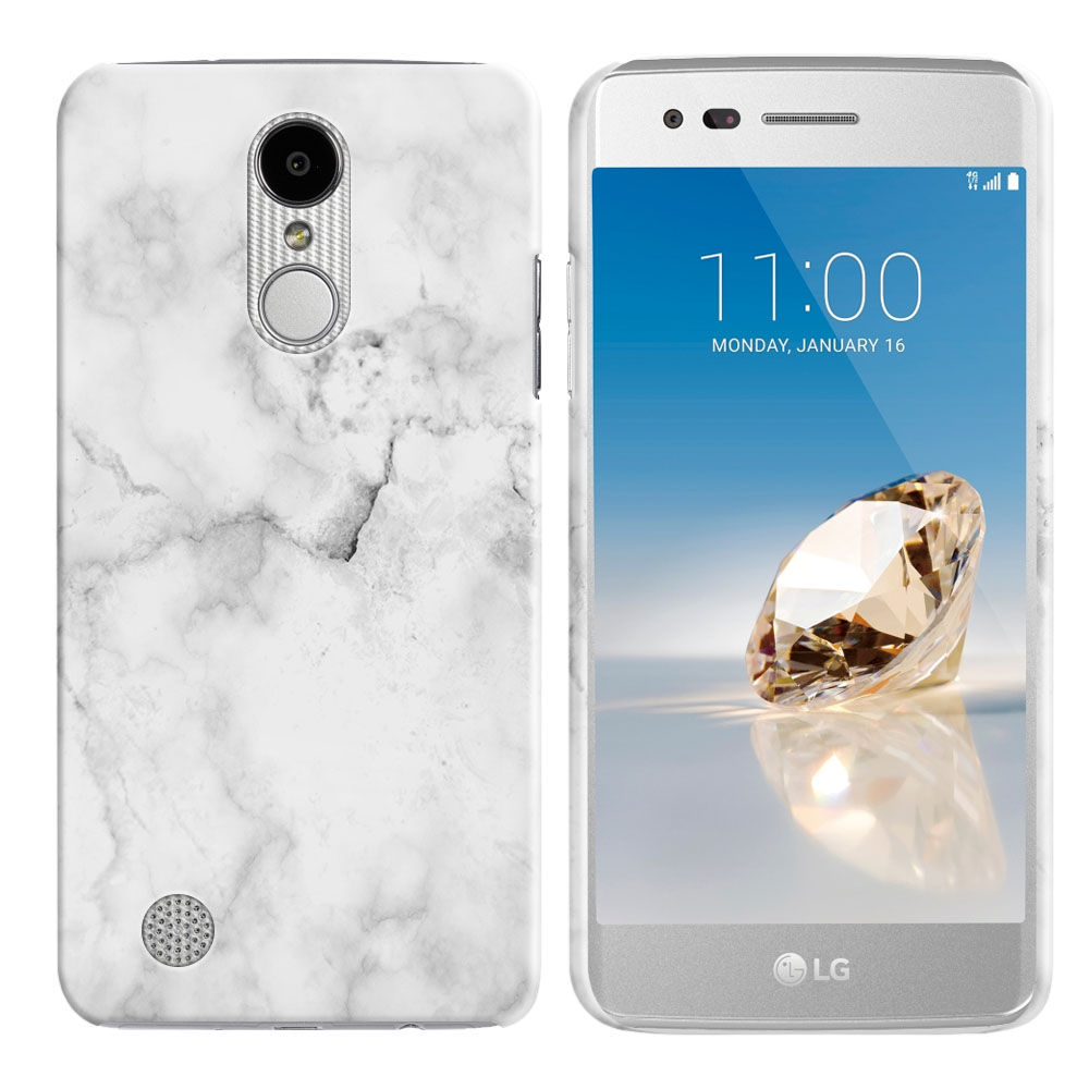 LG Aristo MS210 LV3-LG K8 (2017)-LG Phoenix 3 M150-LG Fortune Grey Cloudy Marble Back Cover Case