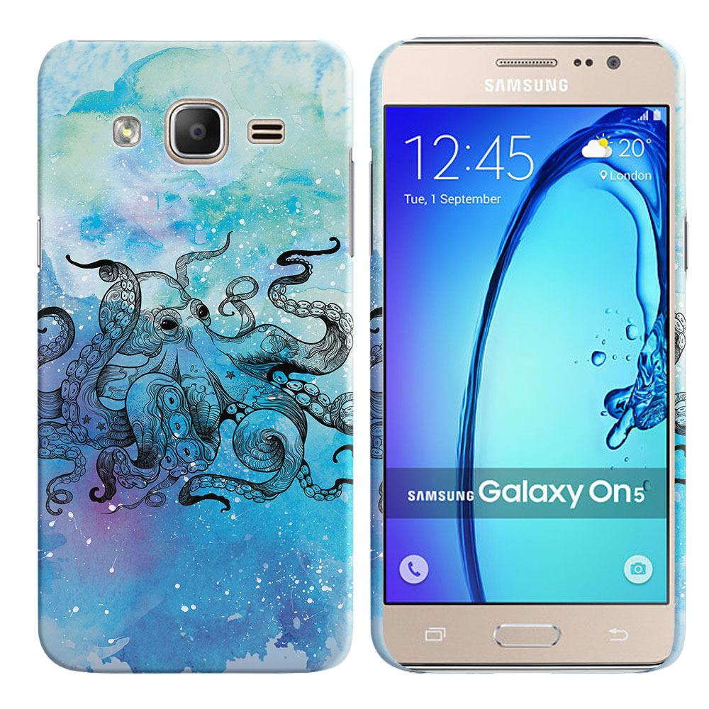 Samsung Galaxy On5 G500-Samsung Galaxy On5 G550 Blue Water Octopus Back Cover Case