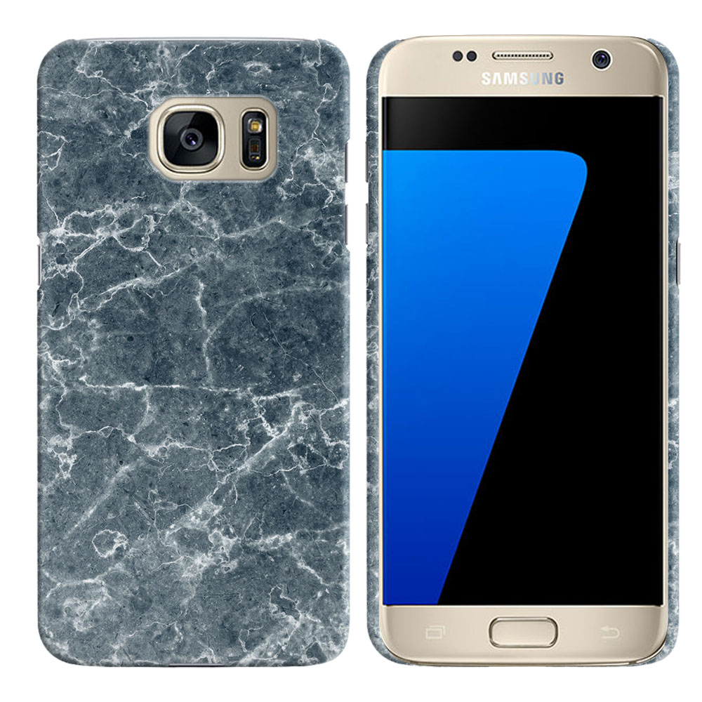 Samsung Galaxy S7 G930 Blue Stone Marble Back Cover Case