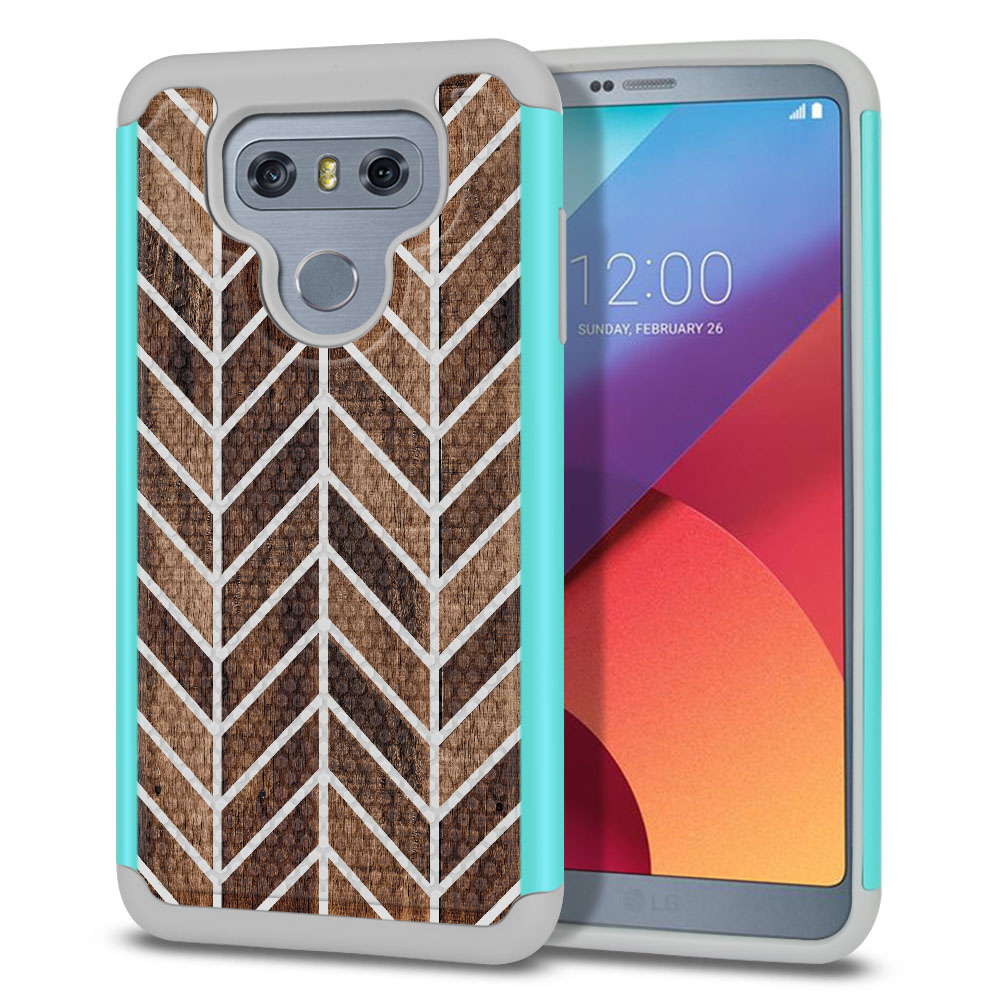 LG G6 H870-H871-H872-H873-US997-LS993-VS998-AS993-G6  Plus US997 Hybrid Football Skin Wood Chevron Protector Cover Case