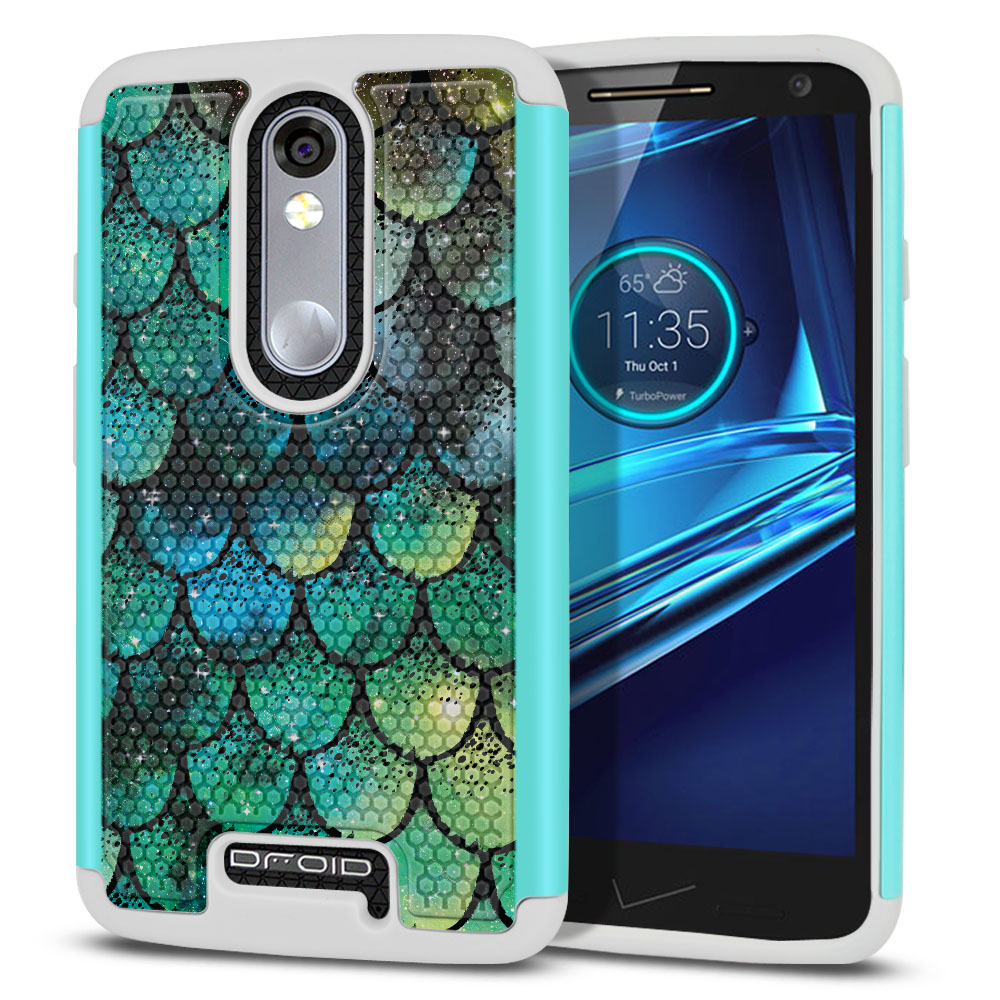 Motorola Droid Turbo 2 Kinzie XT1585-Motorola Moto X Force XT1580 Texture Hybrid Green Mermaid Scales Protector Cover Case