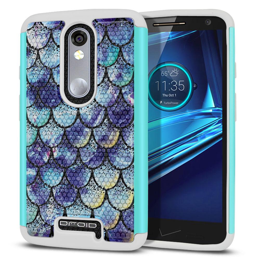 Motorola Droid Turbo 2 Kinzie XT1585-Motorola Moto X Force XT1580 Texture Hybrid Purple Mermaid Scales Protector Cover Case