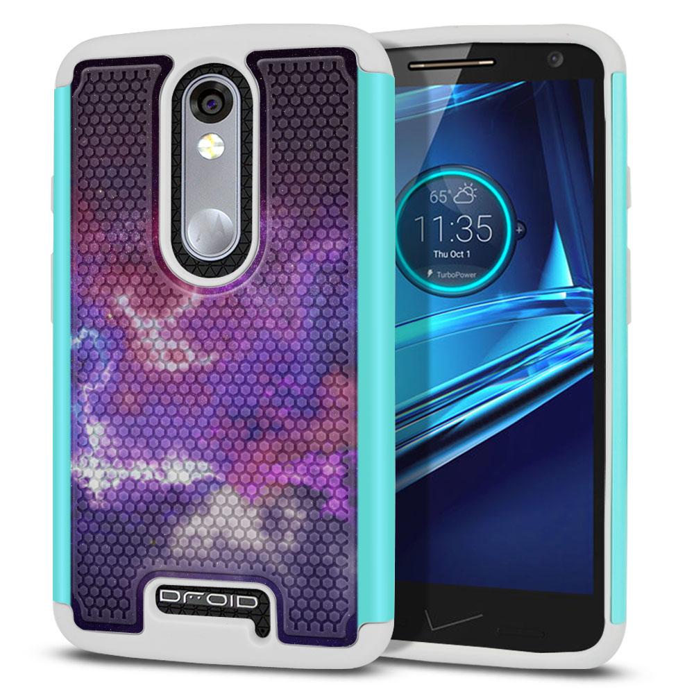 Motorola Droid Turbo 2 Kinzie XT1585-Motorola Moto X Force XT1580 Texture Hybrid Purple Nebula Space Protector Cover Case