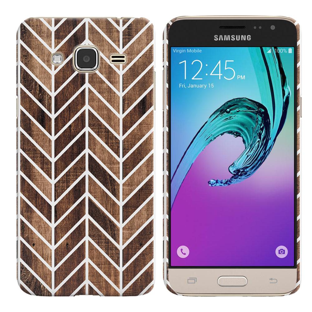 Samsung Galaxy J3 J310 J320 (Not fit for J3 Emerge J327 2017, J3 Pro 2017) Modern Chevron Wood Back Cover Case