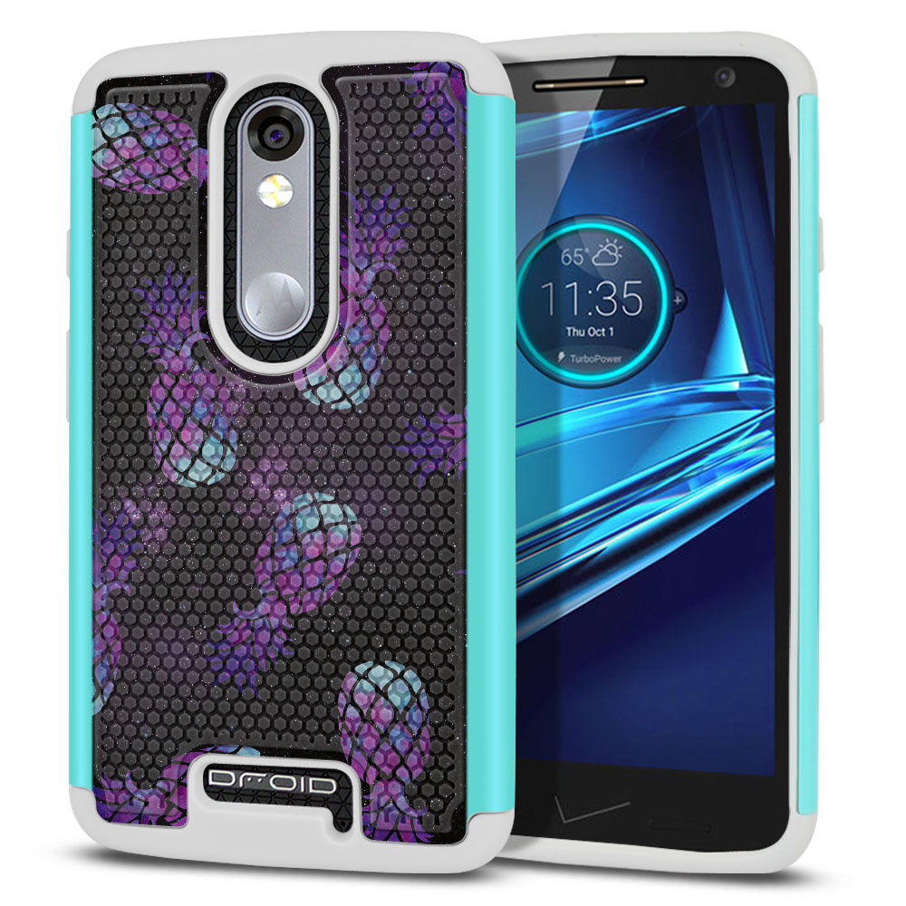 Motorola Droid Turbo 2 Kinzie XT1585-Motorola Moto X Force XT1580 Texture Hybrid Purple Pineapples Galaxy Protector Cover Case