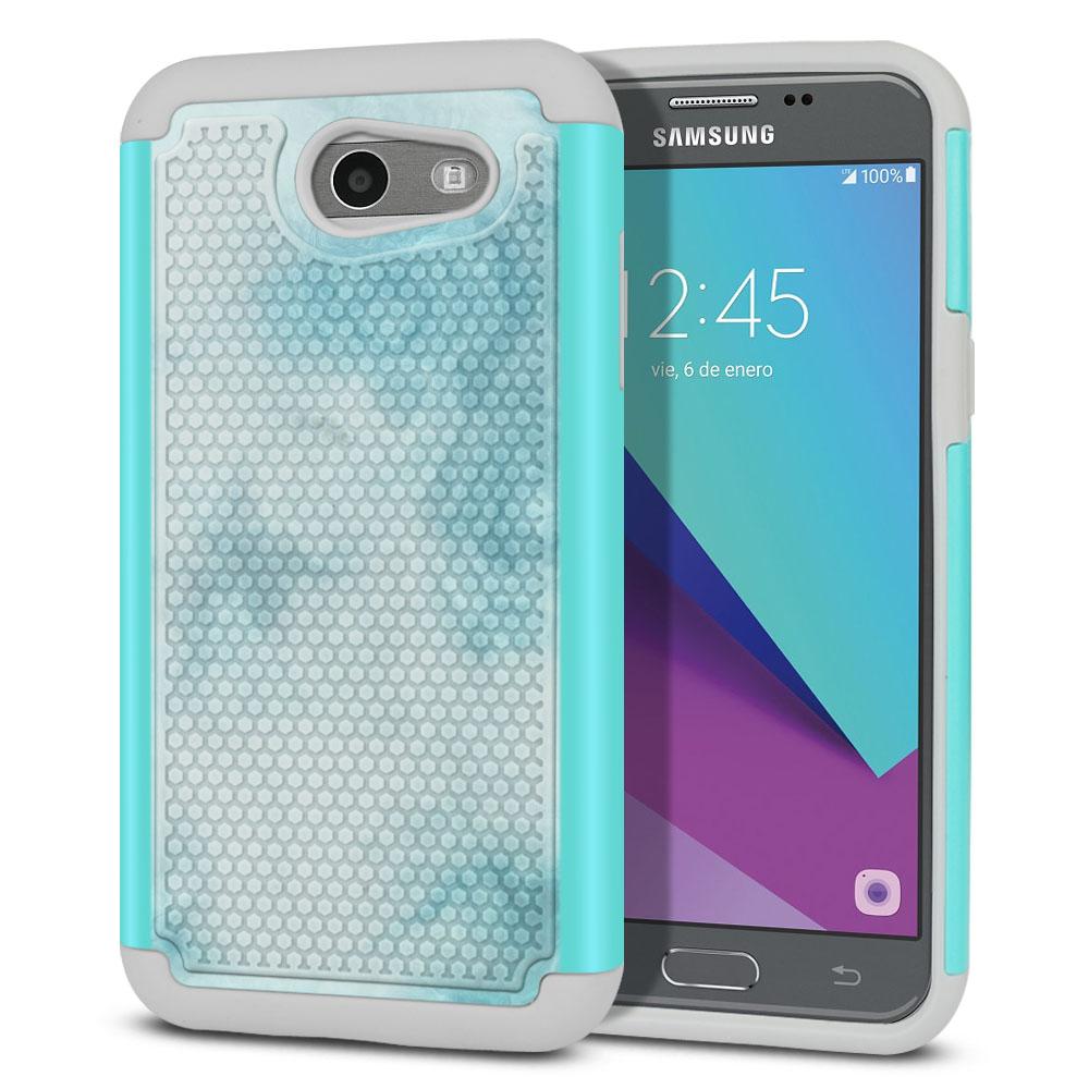 Samsung Galaxy J3 J327 2017 2nd Gen- Samsung Galaxy J3 Emerge Hybrid Football Skin Blue Cloudy Marble Protector Cover Case