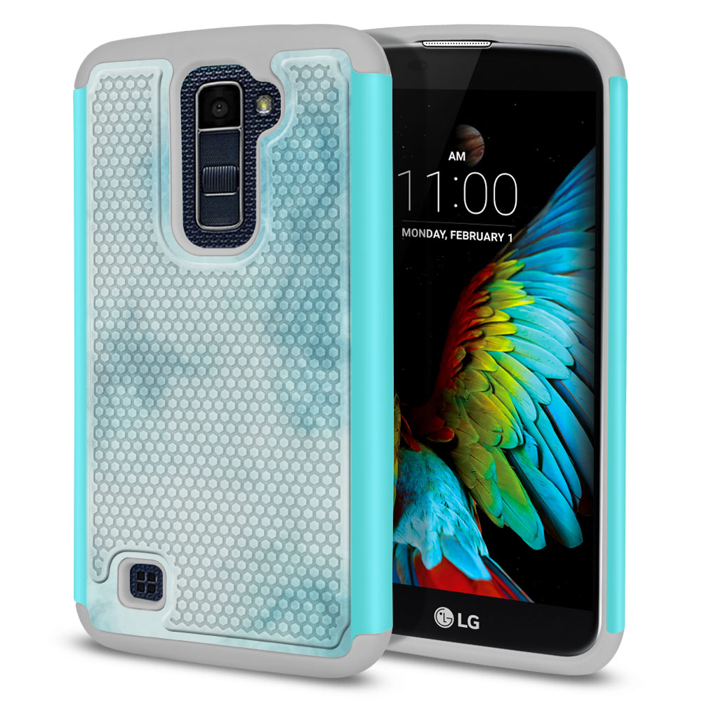 LG K10-LG Premier LTE L62VL L61AL K428 K430 K420 K420N Hybrid Football Skin Blue Cloudy Marble Protector Cover Case