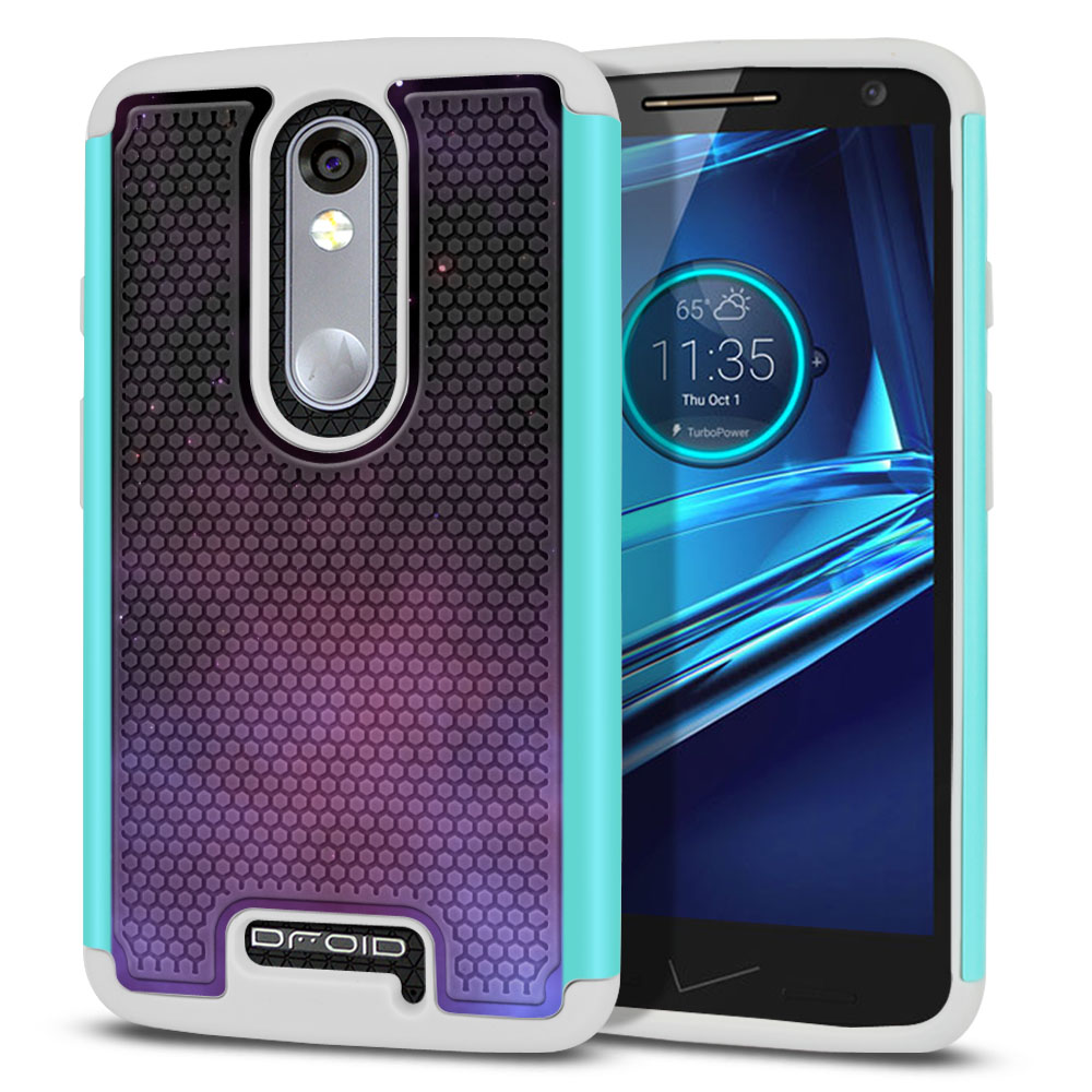 Motorola Droid Turbo 2 Kinzie XT1585-Motorola Moto X Force XT1580 Texture Hybrid Purple Space Stars Protector Cover Case