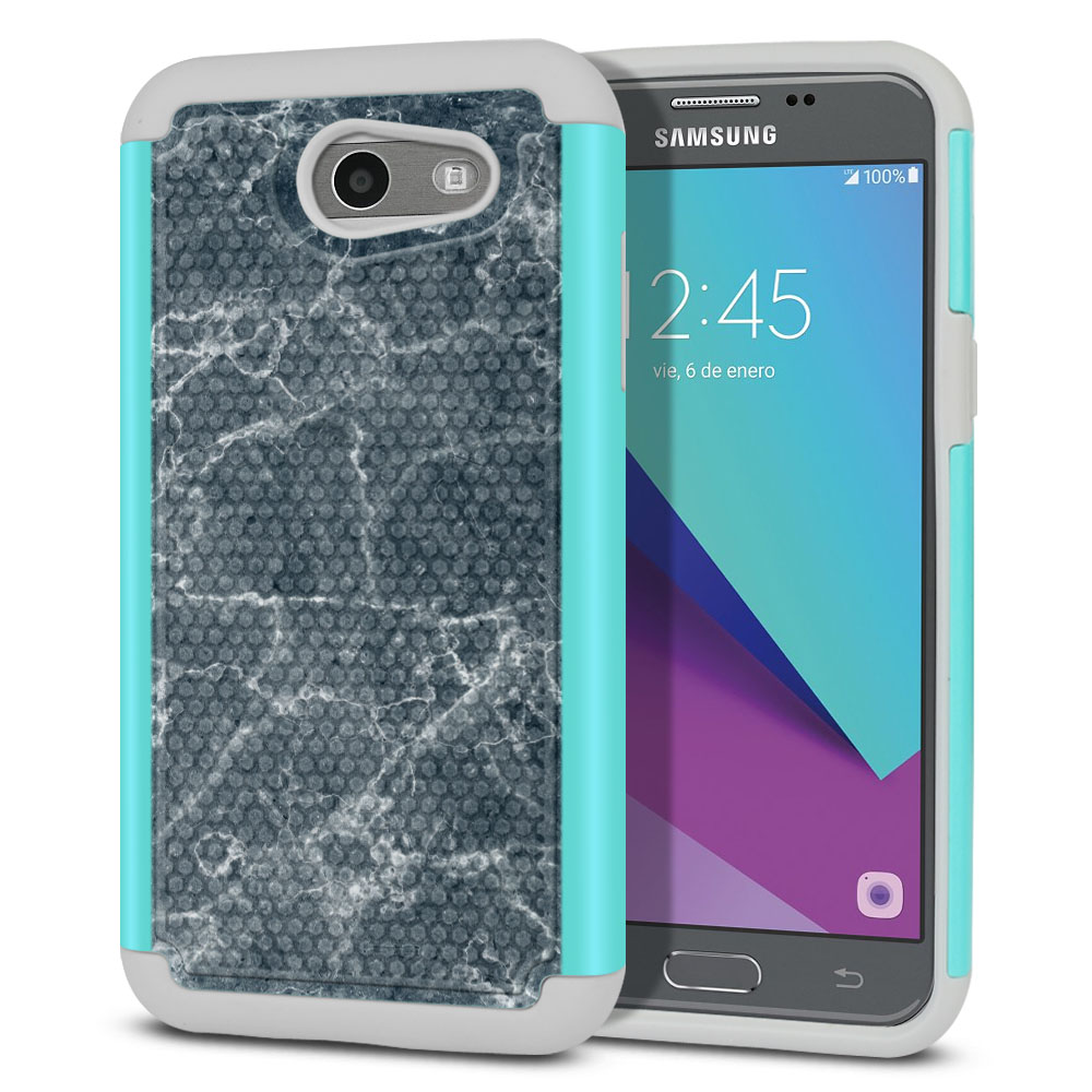 Samsung Galaxy J3 J327 2017 2nd Gen- Samsung Galaxy J3 Emerge Hybrid Football Skin Blue Stone Marble Protector Cover Case