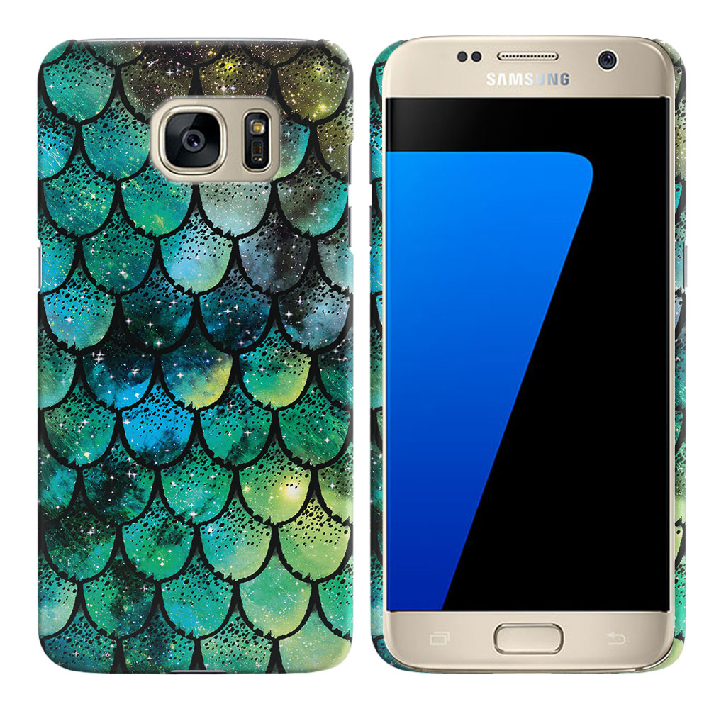 Samsung Galaxy S7 G930 Green Mermaid Scales Back Cover Case